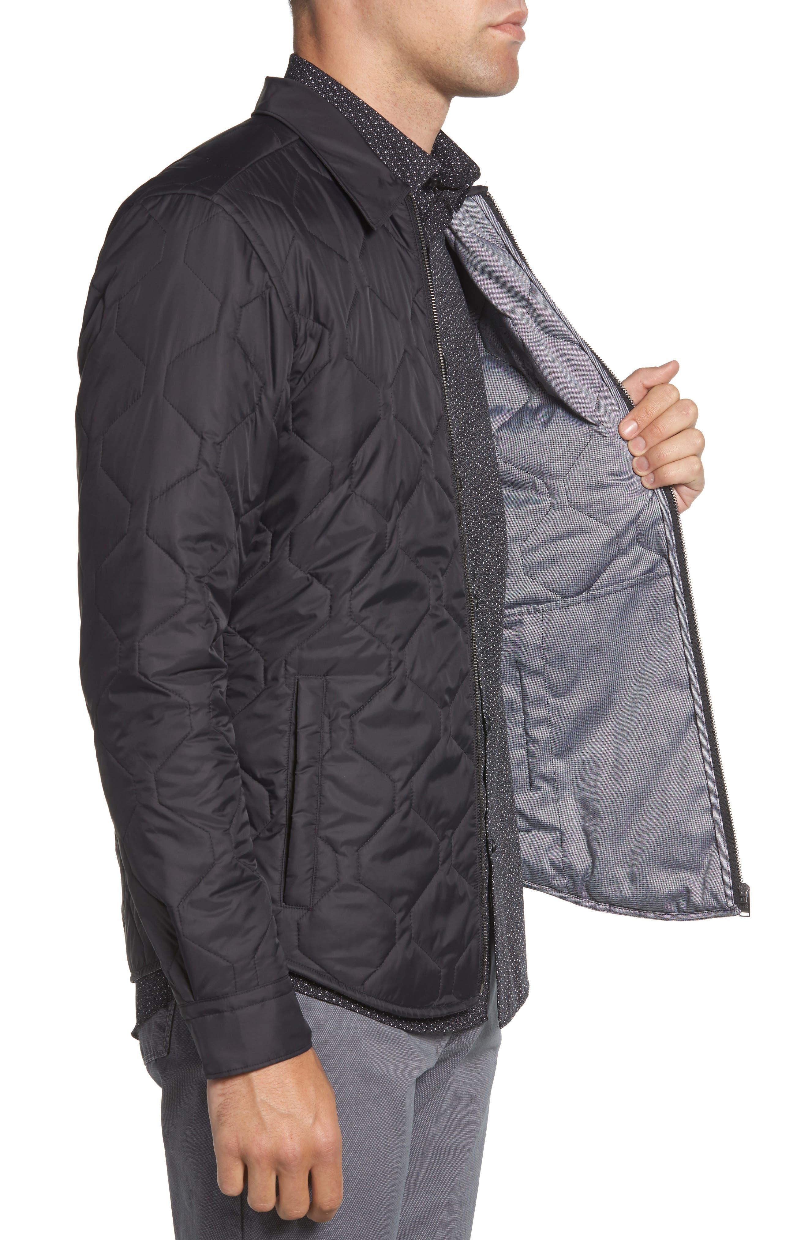 BOSS,                             Landolfo Regular Fit Quilted Jacket,                             Alternate thumbnail 3, color,                             BLACK