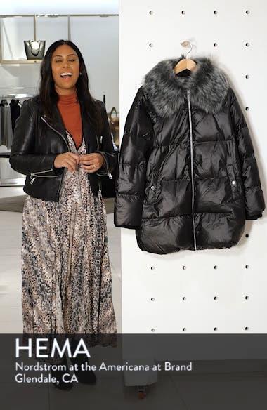 Cire Faux Fur Trim Down Quilted Coat, sales video thumbnail