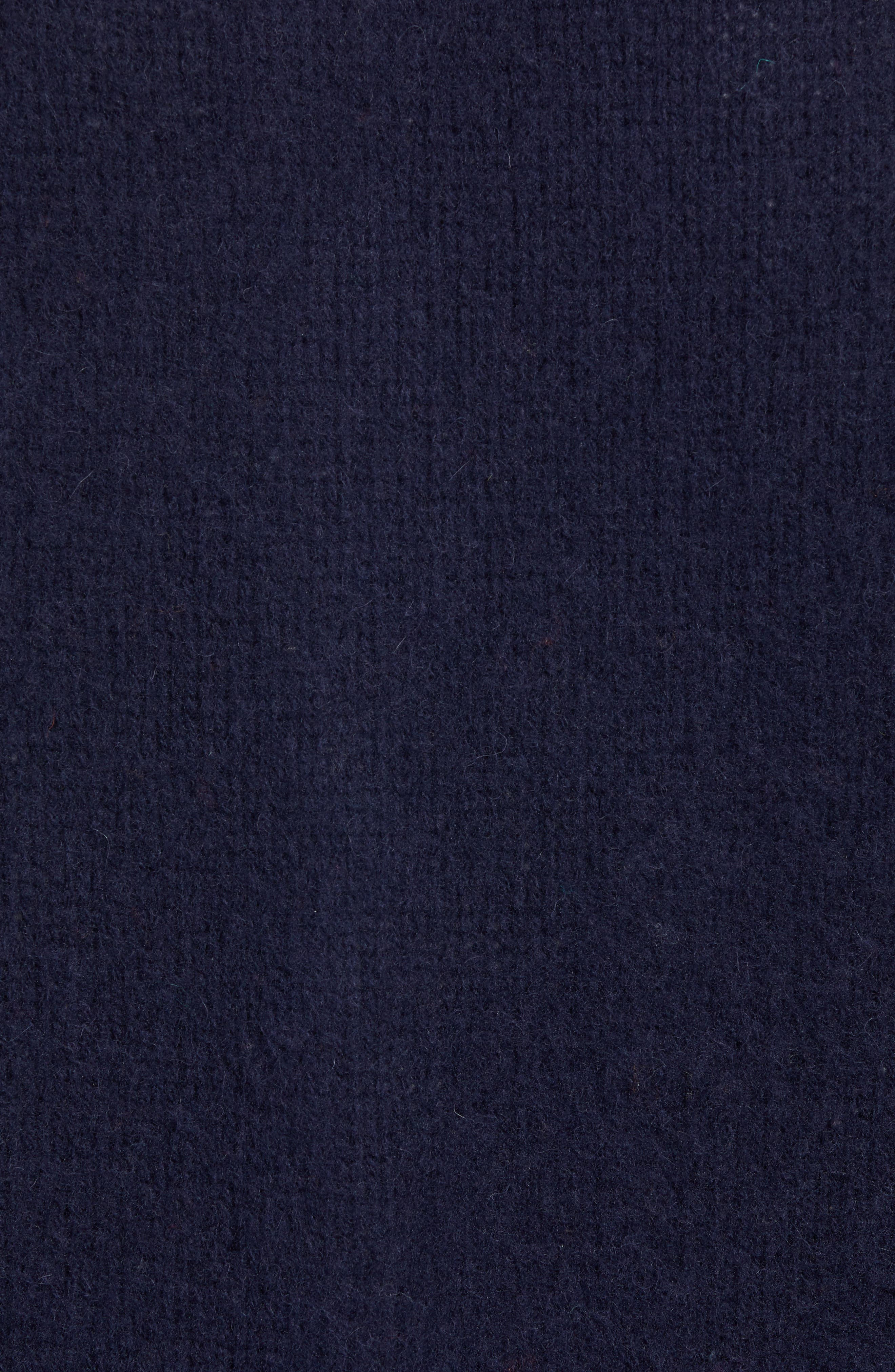 Baseball Cardy Wool Sweater,                             Alternate thumbnail 5, color,                             NAVY