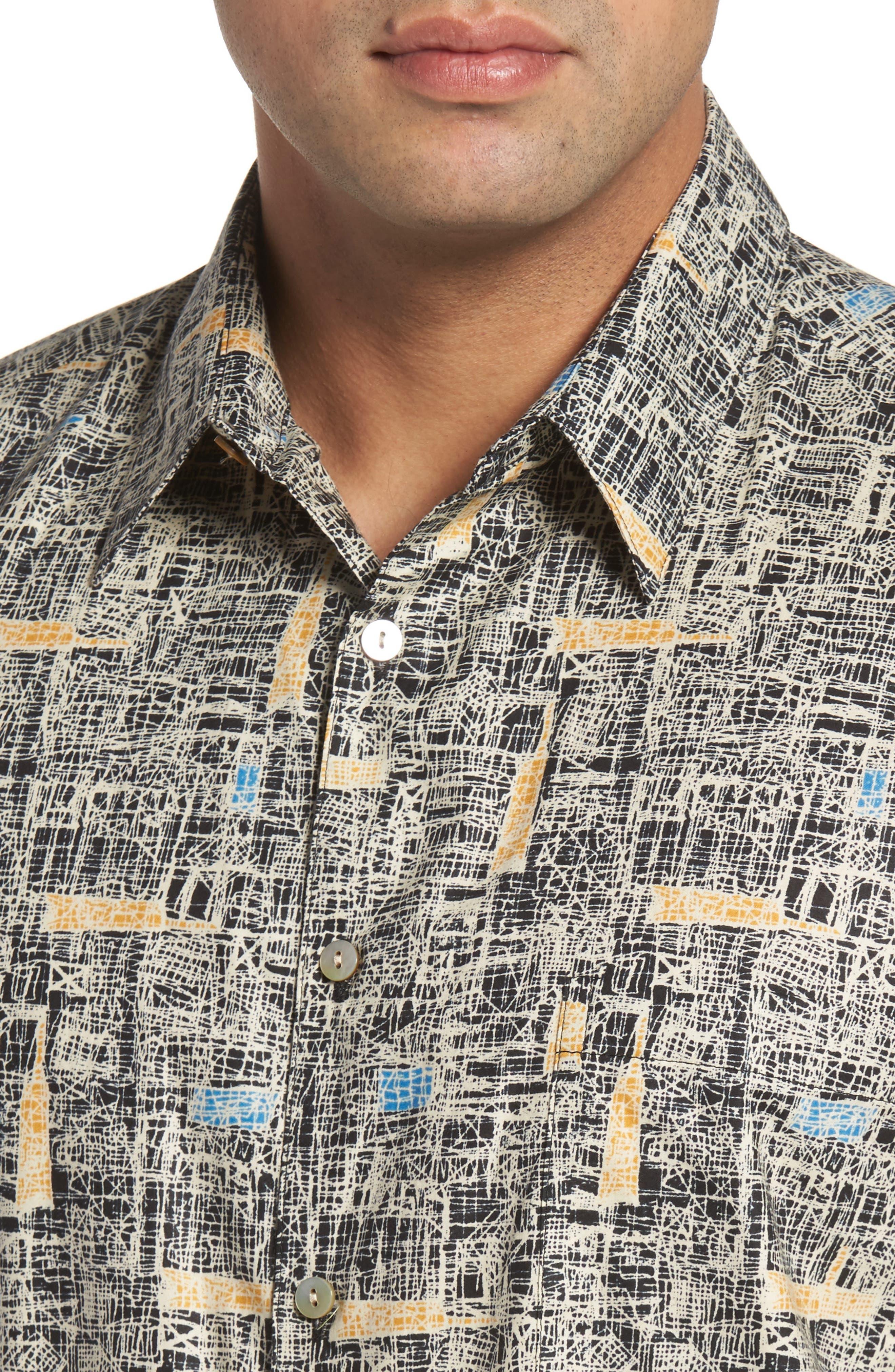 Jasper Abstract Print Camp Shirt,                             Alternate thumbnail 4, color,                             001