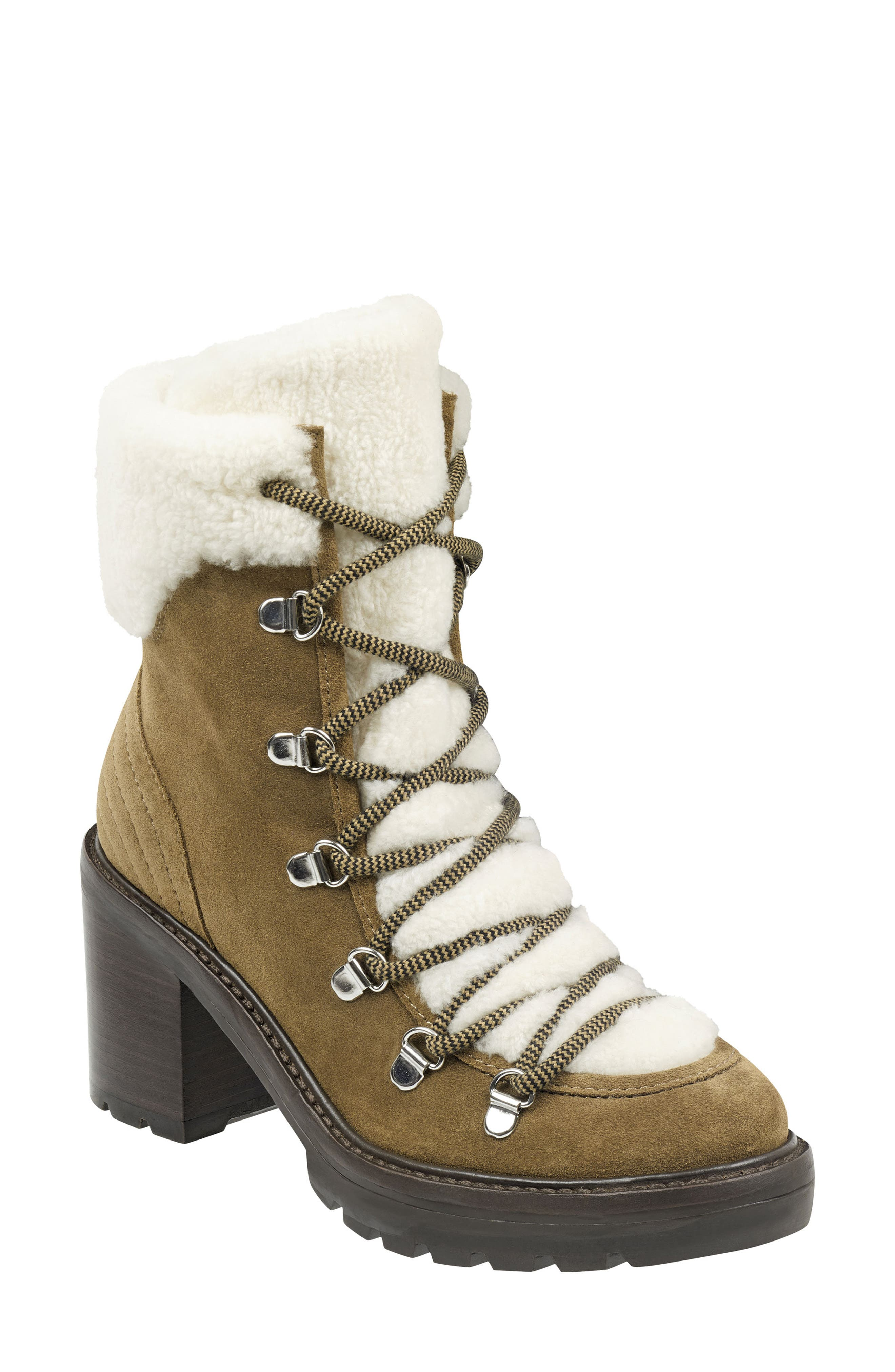 Marc Fisher Ltd Daven Genuine Shearling Lace Up Boot- Brown