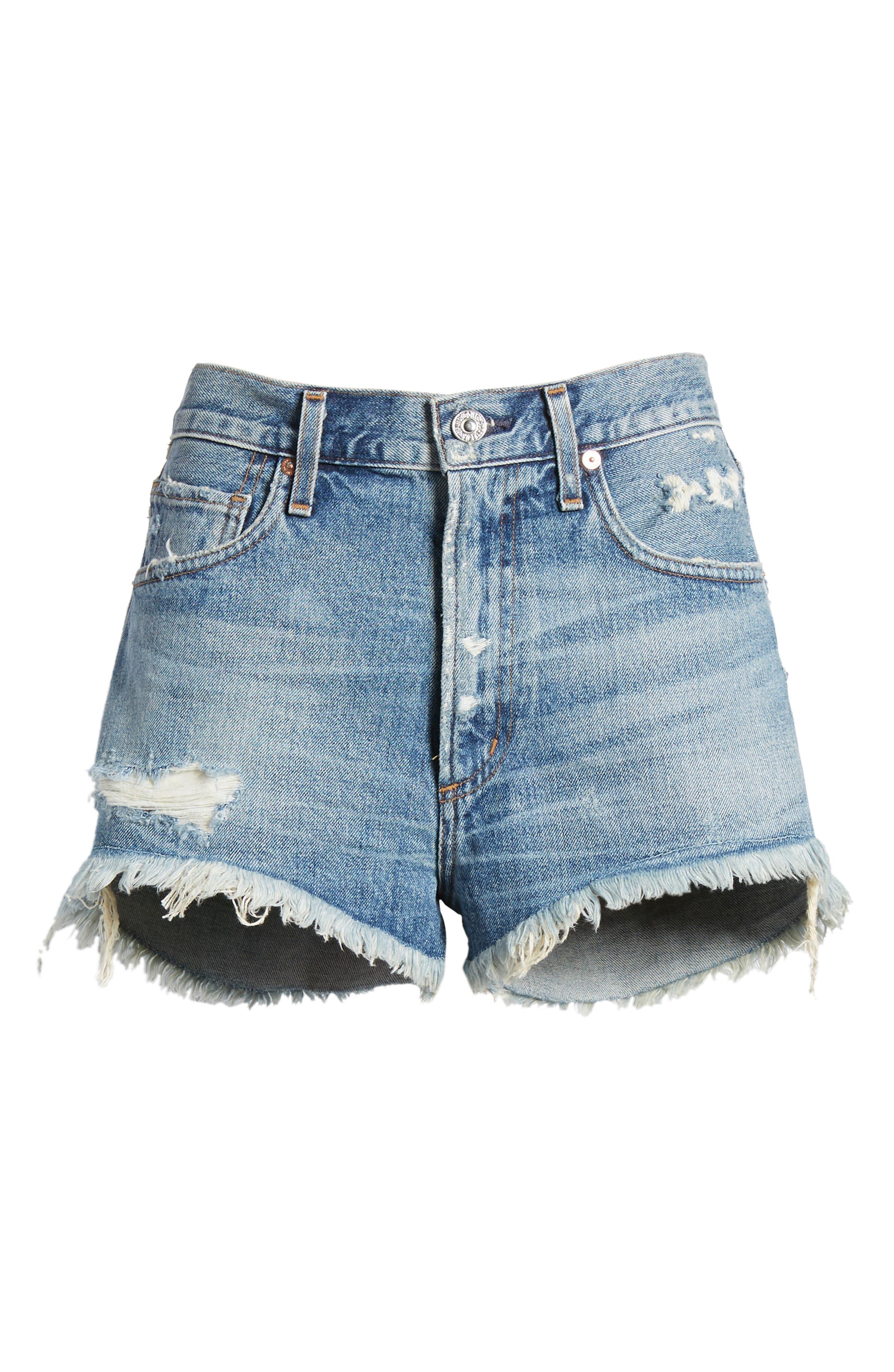 Danielle High Waist Cutoff Shorts,                             Alternate thumbnail 7, color,