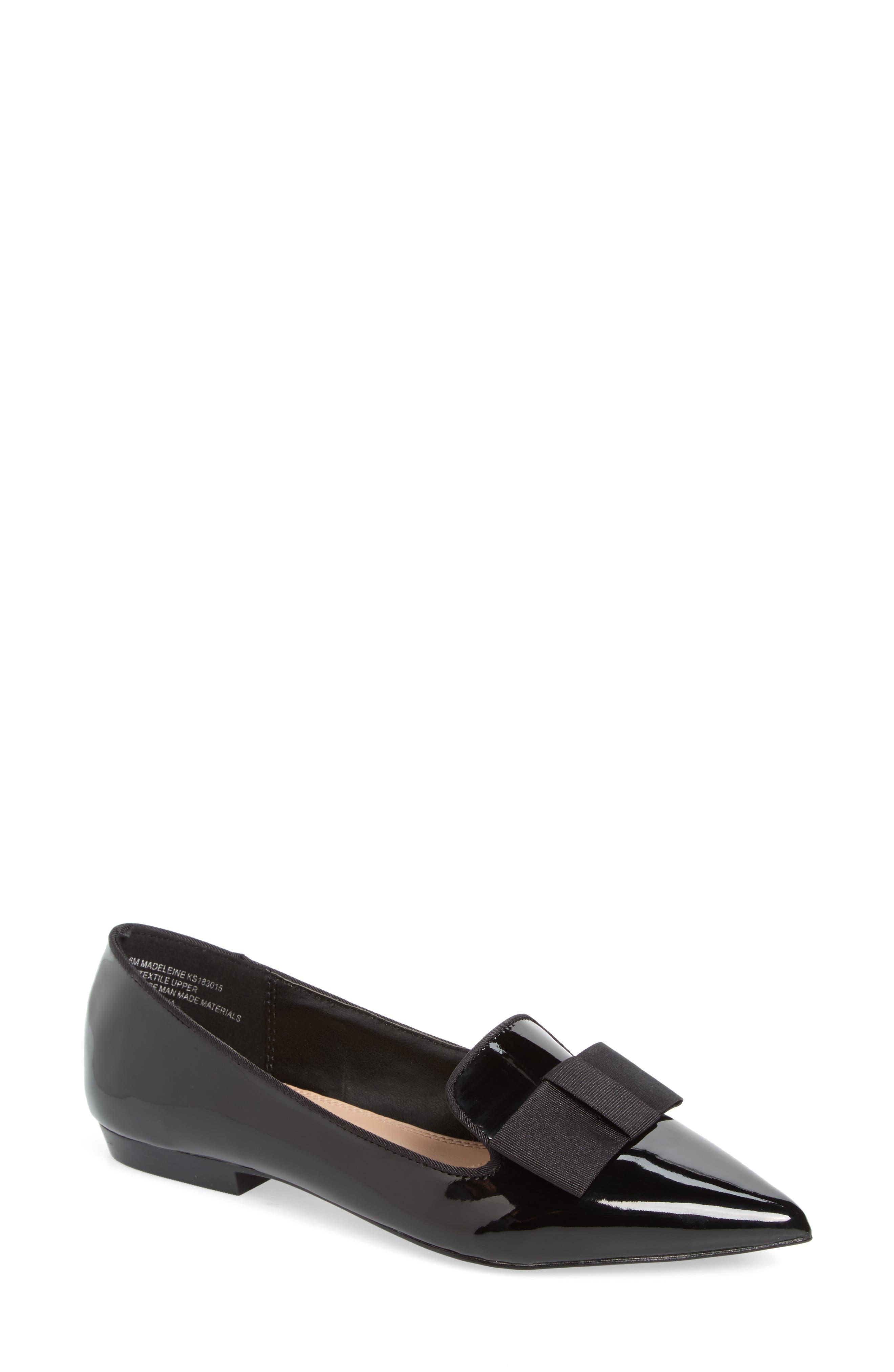 KENSIE Madeleine Pointy Toe Flat in Black Patent