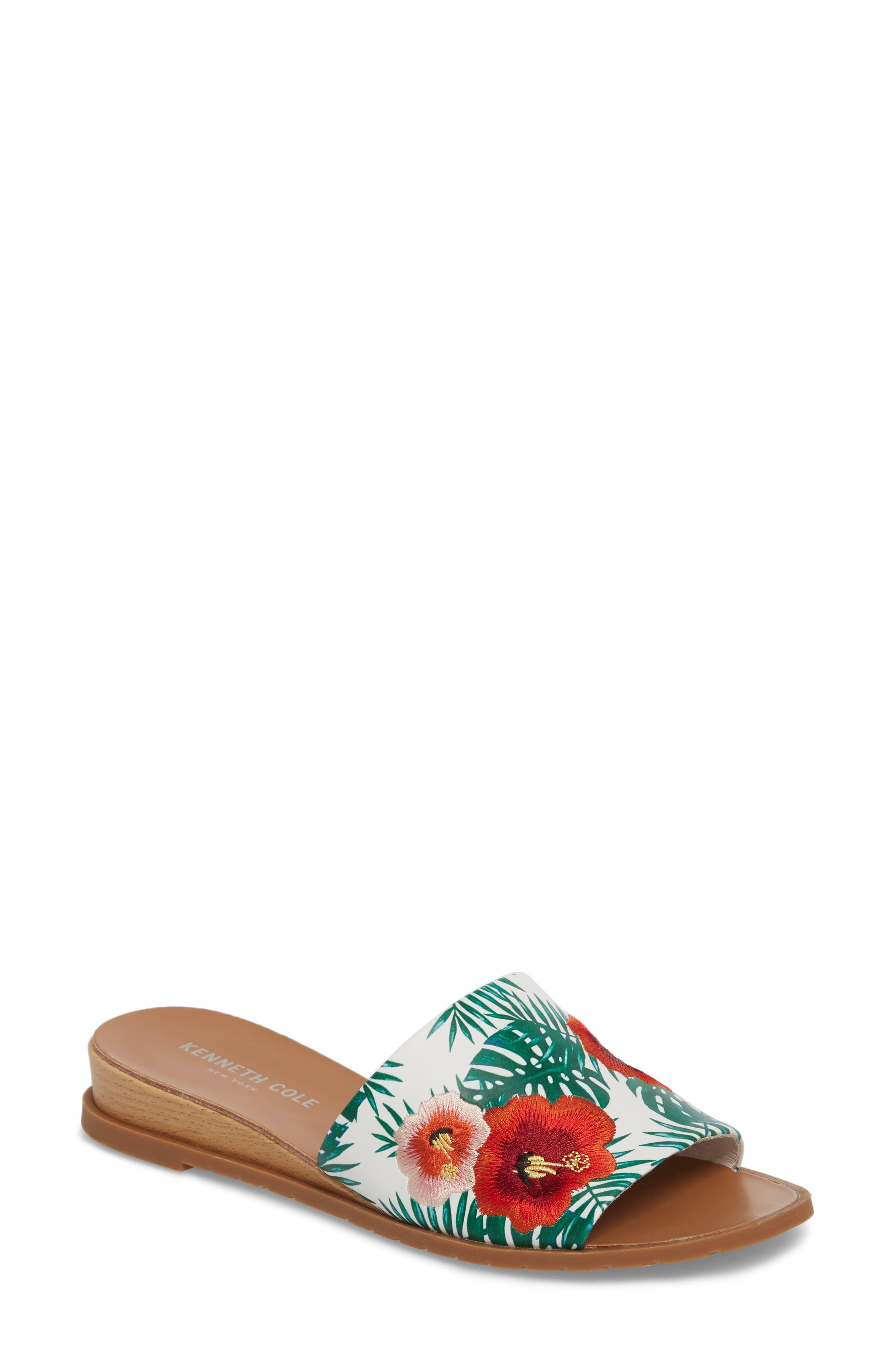 Joanne Flower Embroidered Slide Sandal,                             Main thumbnail 4, color,