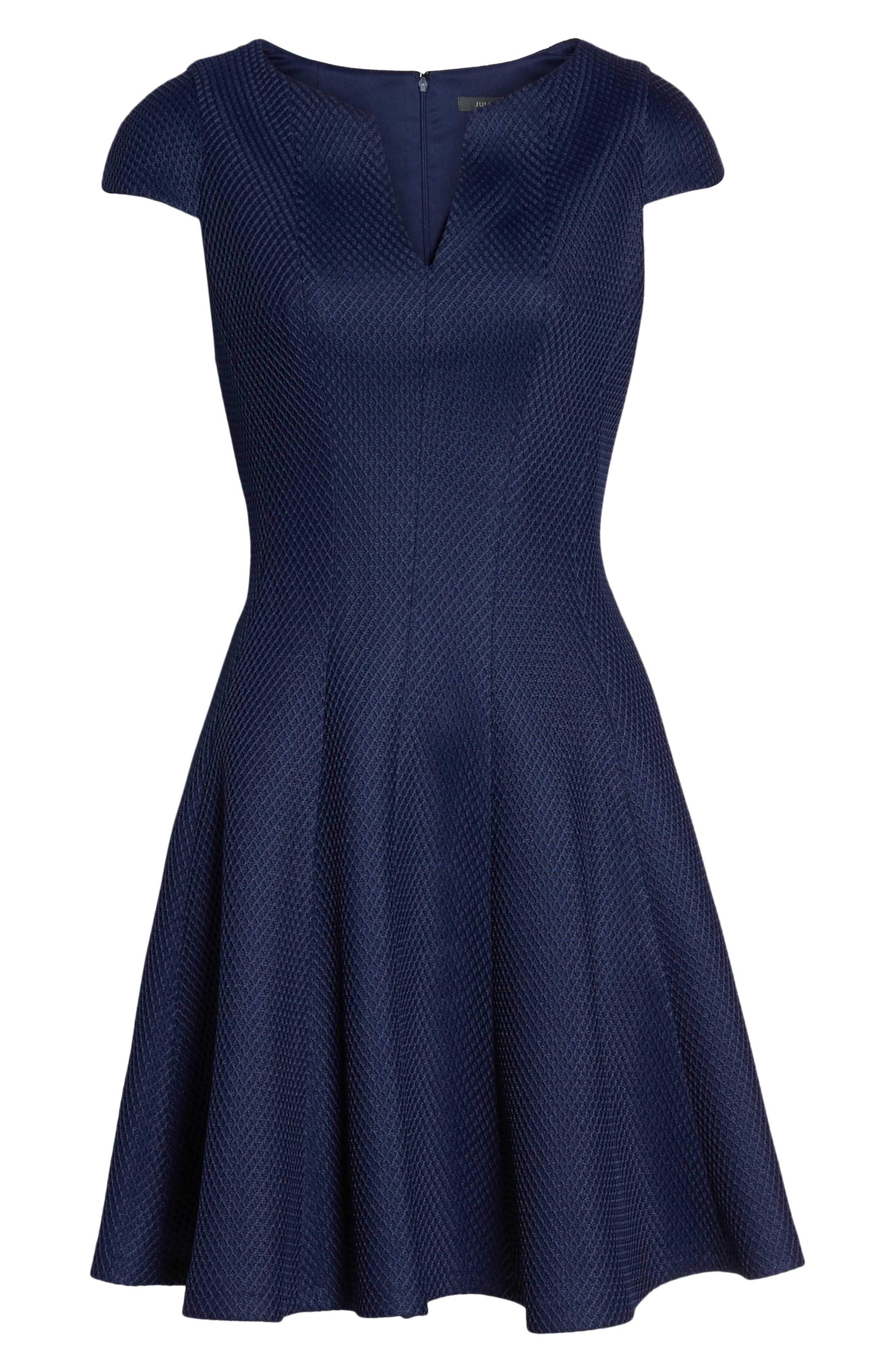 Fit & Flare Dress,                             Alternate thumbnail 7, color,                             NAVY