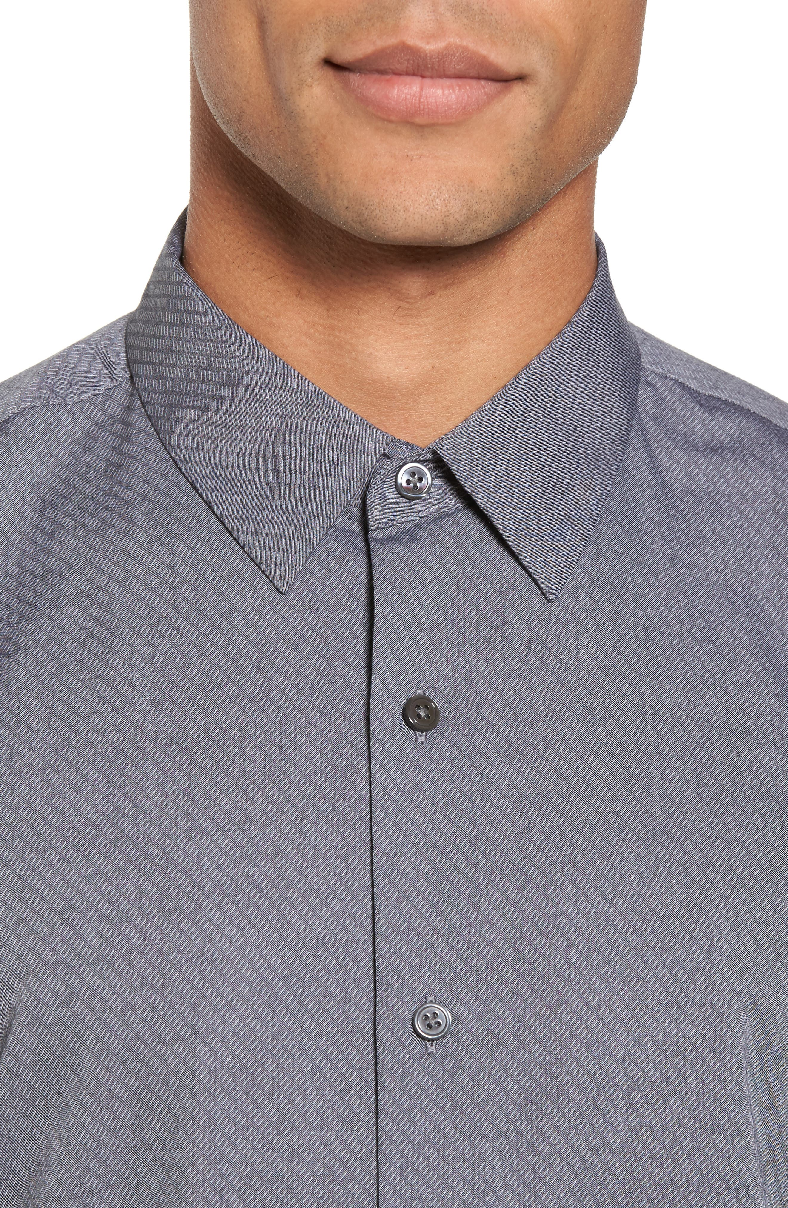 Storm Trim Fit Solid Sport Shirt,                             Alternate thumbnail 4, color,