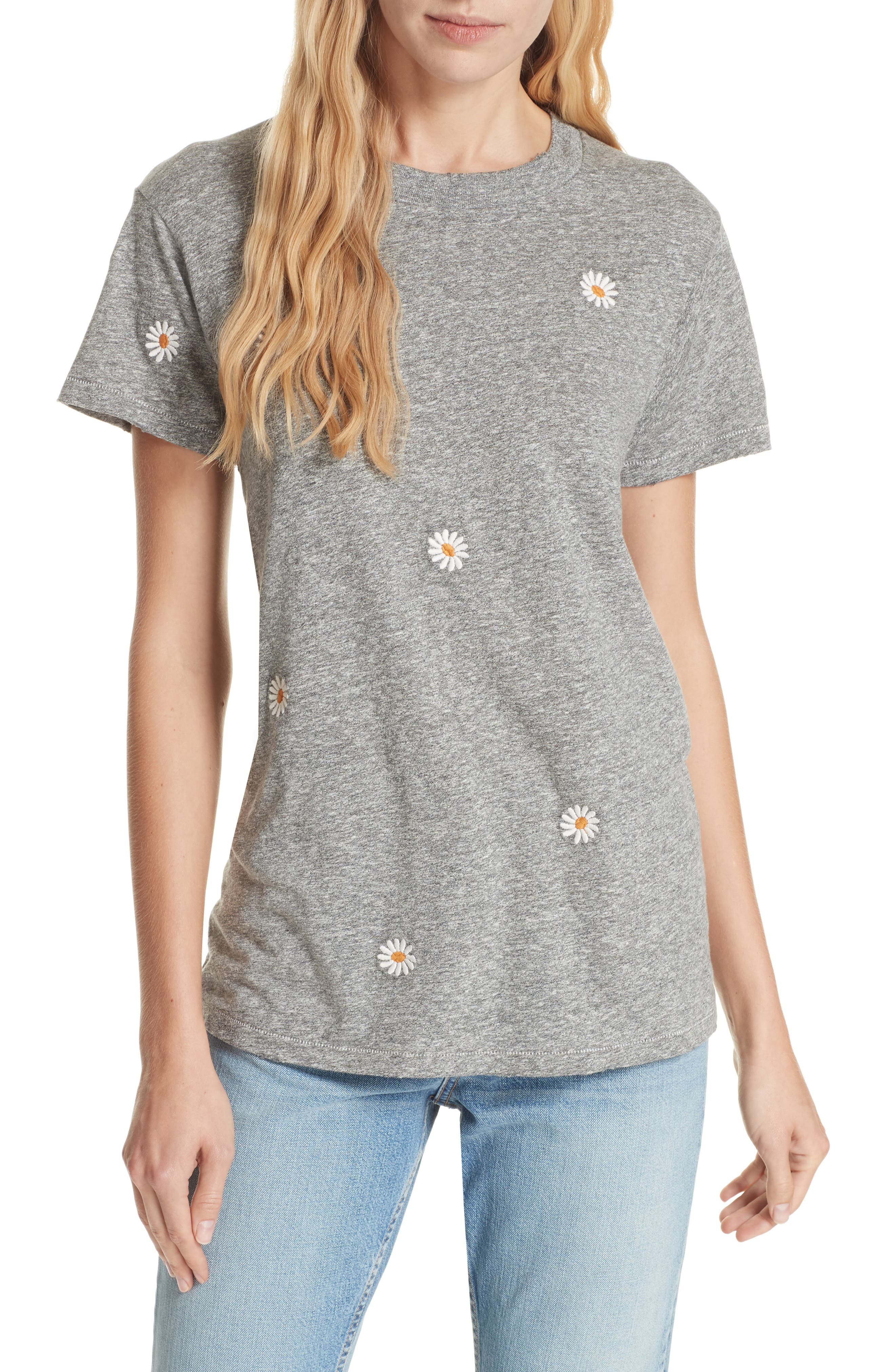 The Embroidered Slim Tee,                             Main thumbnail 1, color,                             HEATHER GREY W/ DAISY EMB