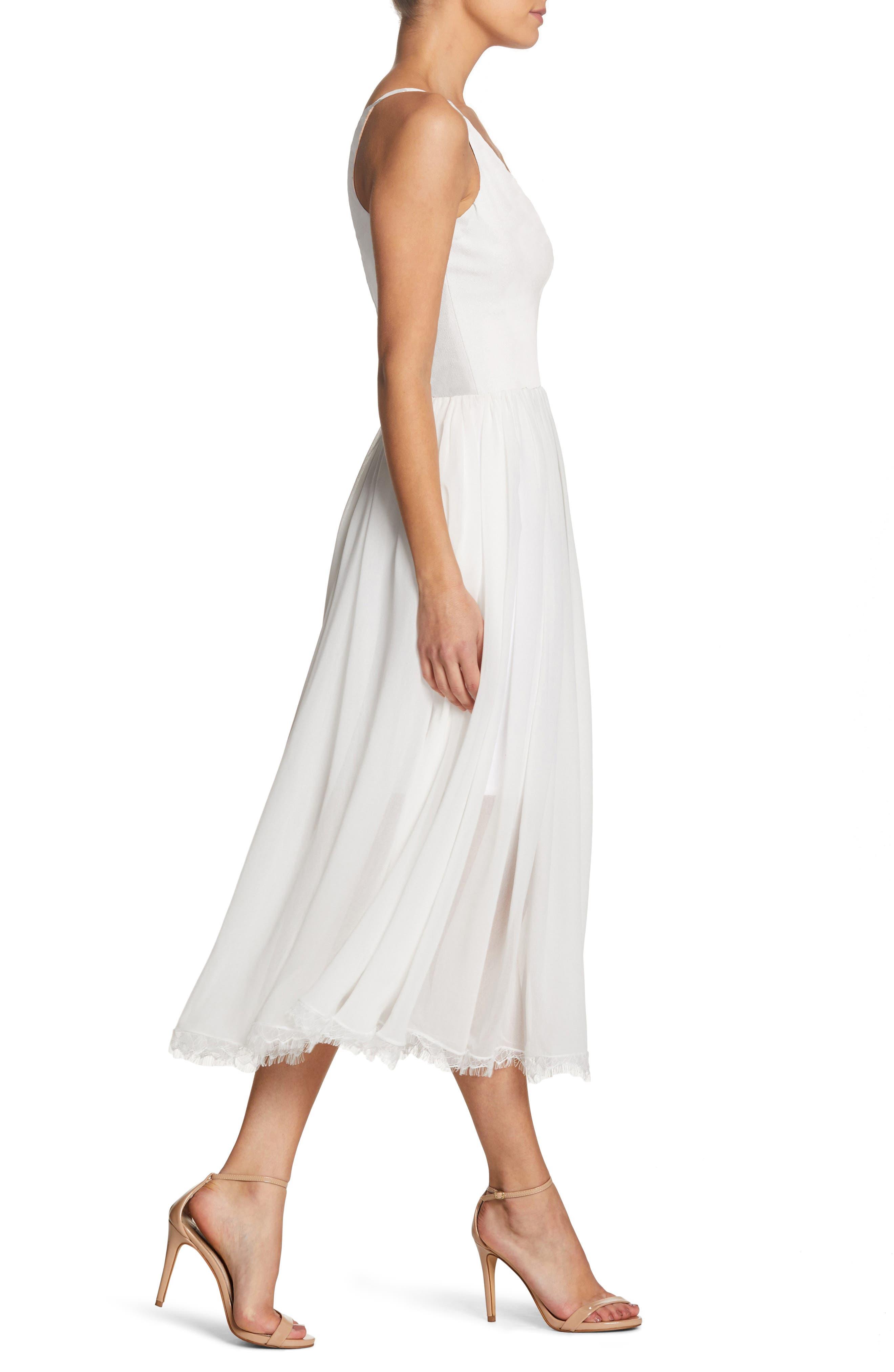 Alicia Mixed Media Midi Dress,                             Alternate thumbnail 3, color,                             OFF WHITE