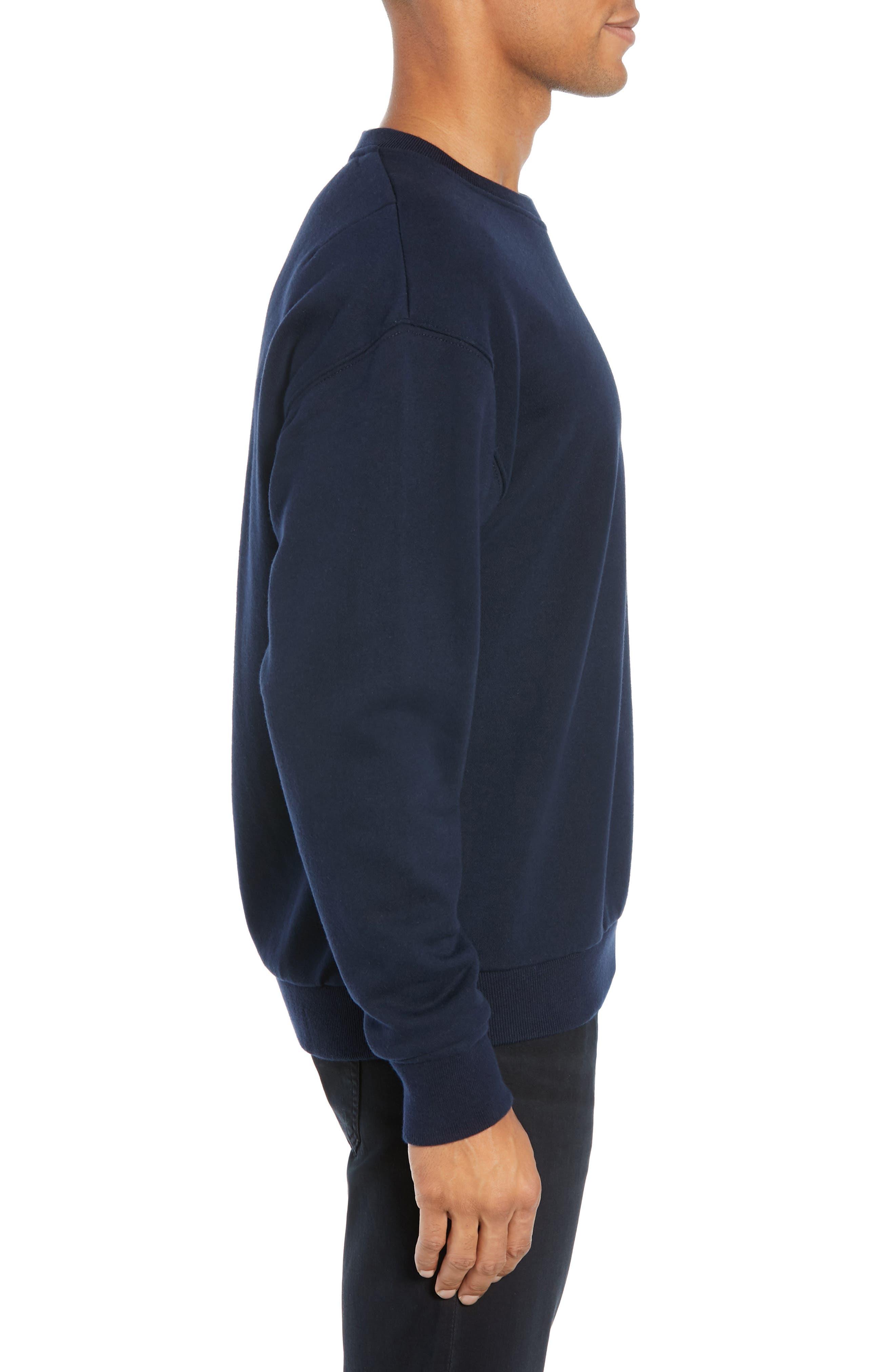 Long Sleeve Zip Pocket Sweatshirt,                             Alternate thumbnail 3, color,                             NAVY