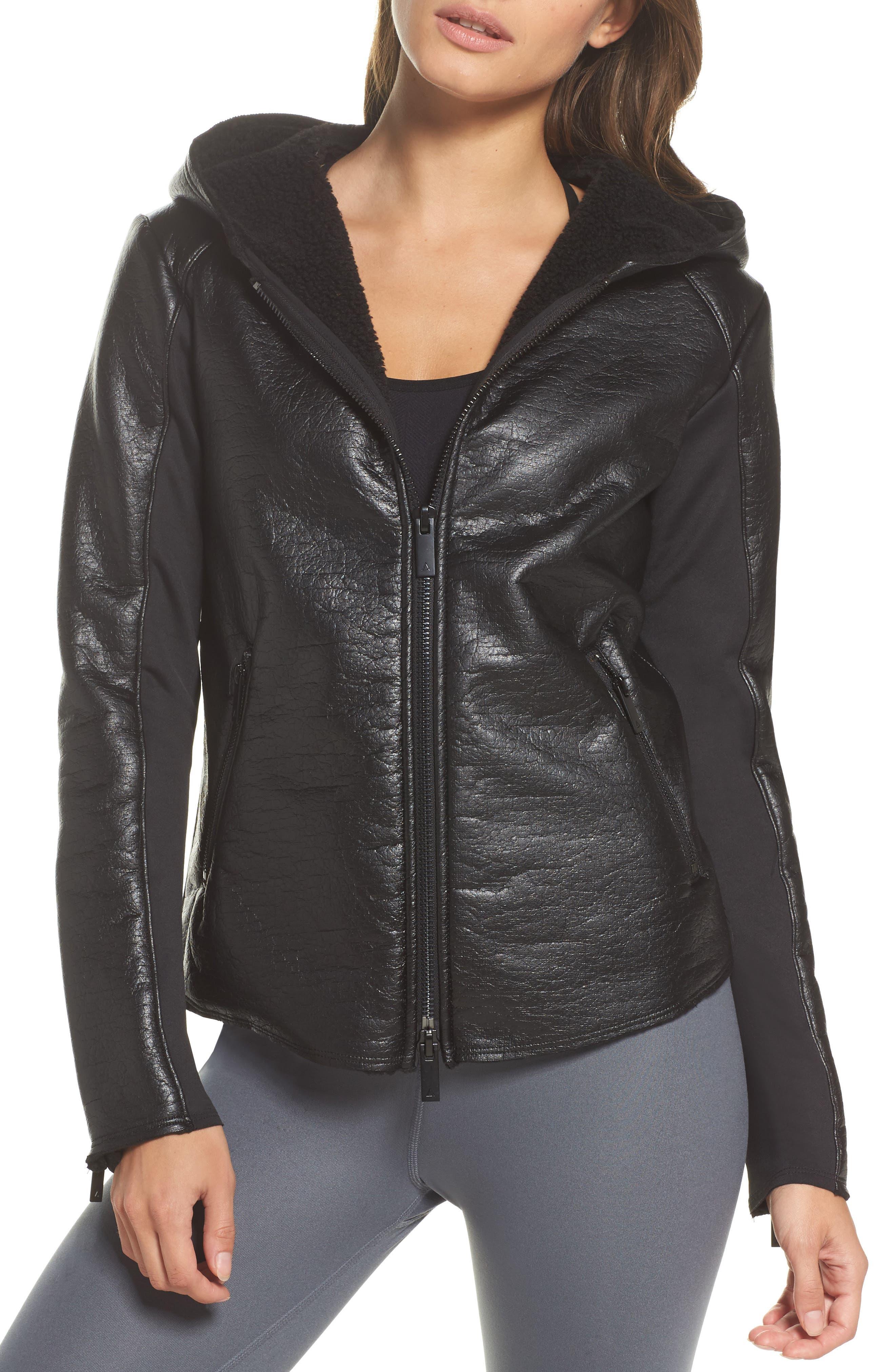 Fleece Lined Faux Leather Jacket,                             Alternate thumbnail 4, color,                             001