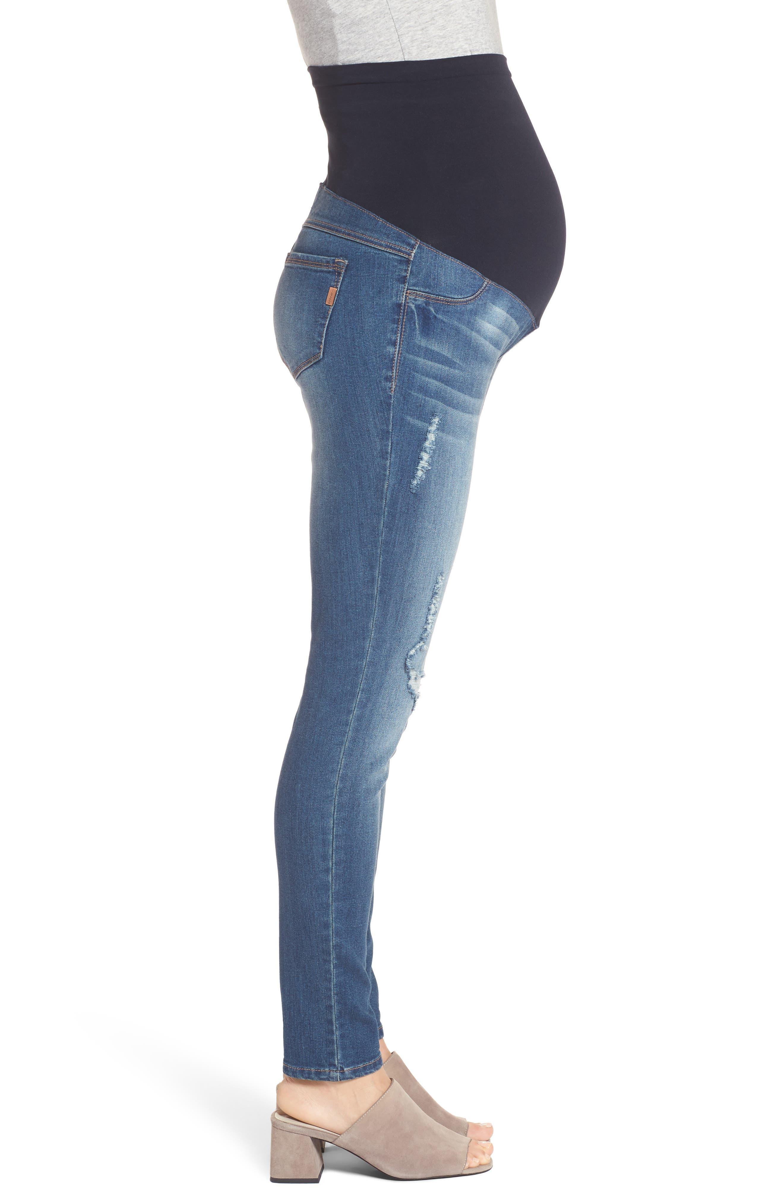 Destructed Maternity Skinny Jeans,                             Alternate thumbnail 3, color,                             IRENE