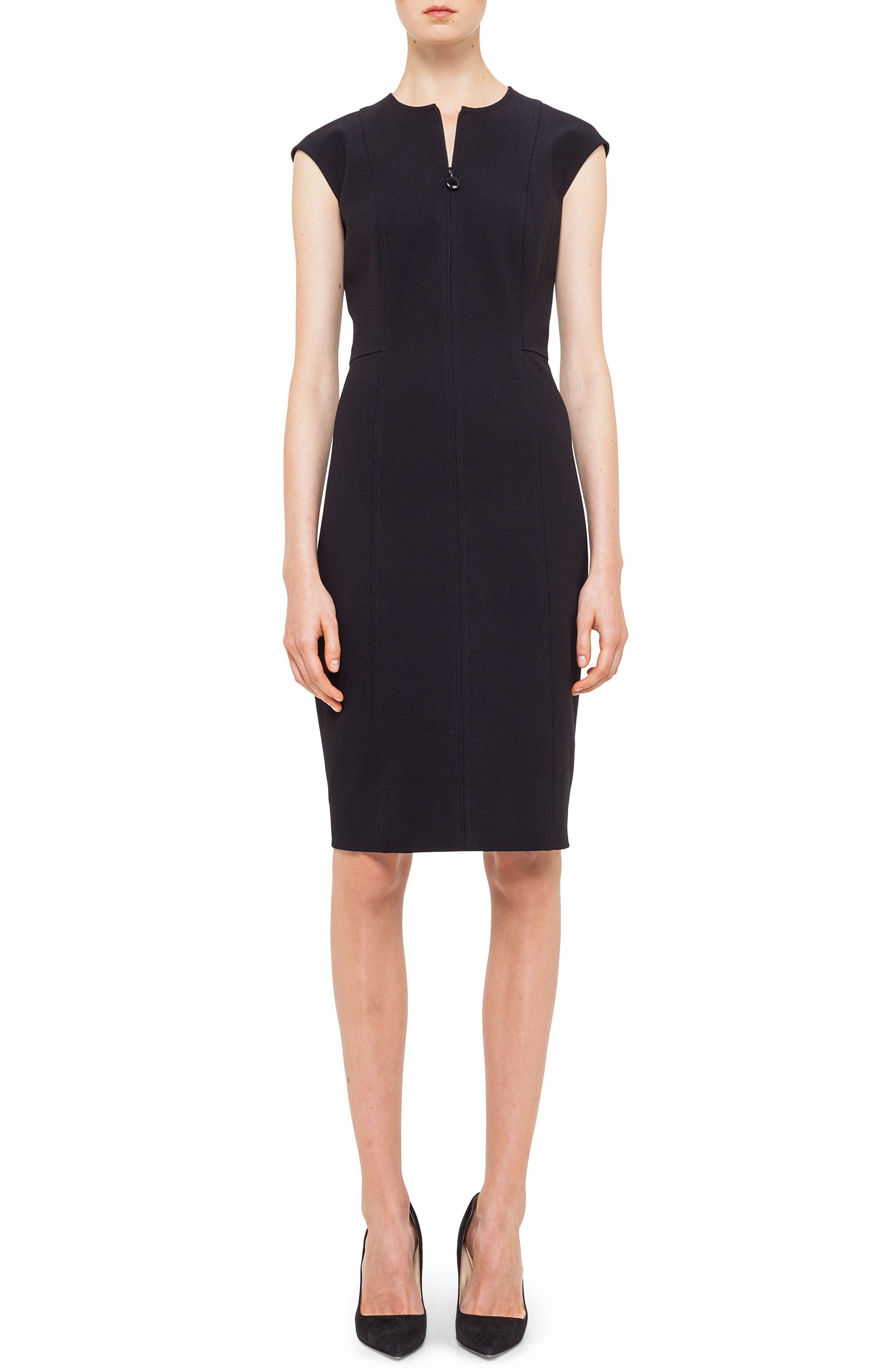 Cap Sleeve Sheath Dress,                             Main thumbnail 1, color,                             BLACK
