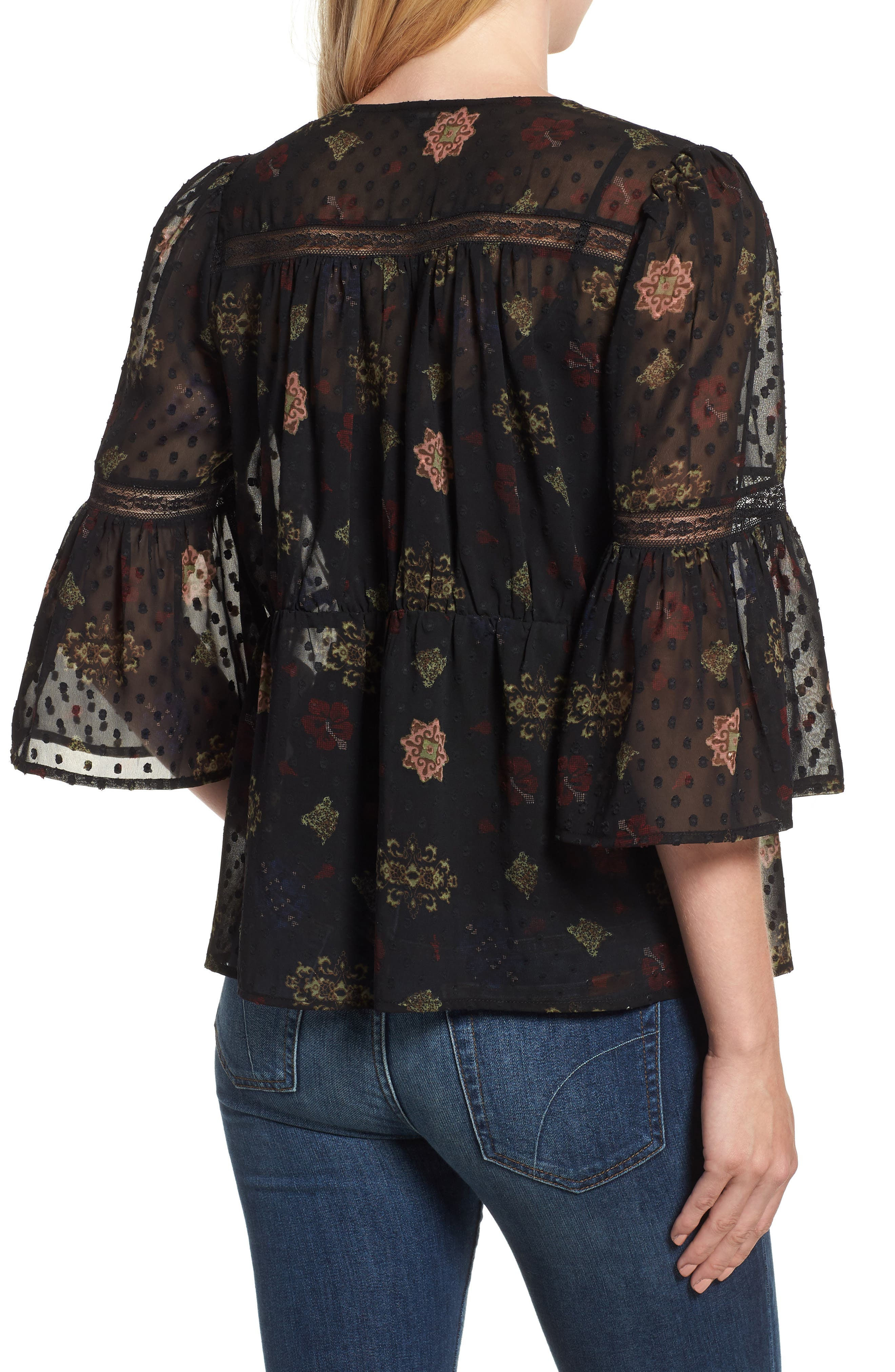 Swiss Dot Sheer Floral Blouse,                             Alternate thumbnail 2, color,                             001