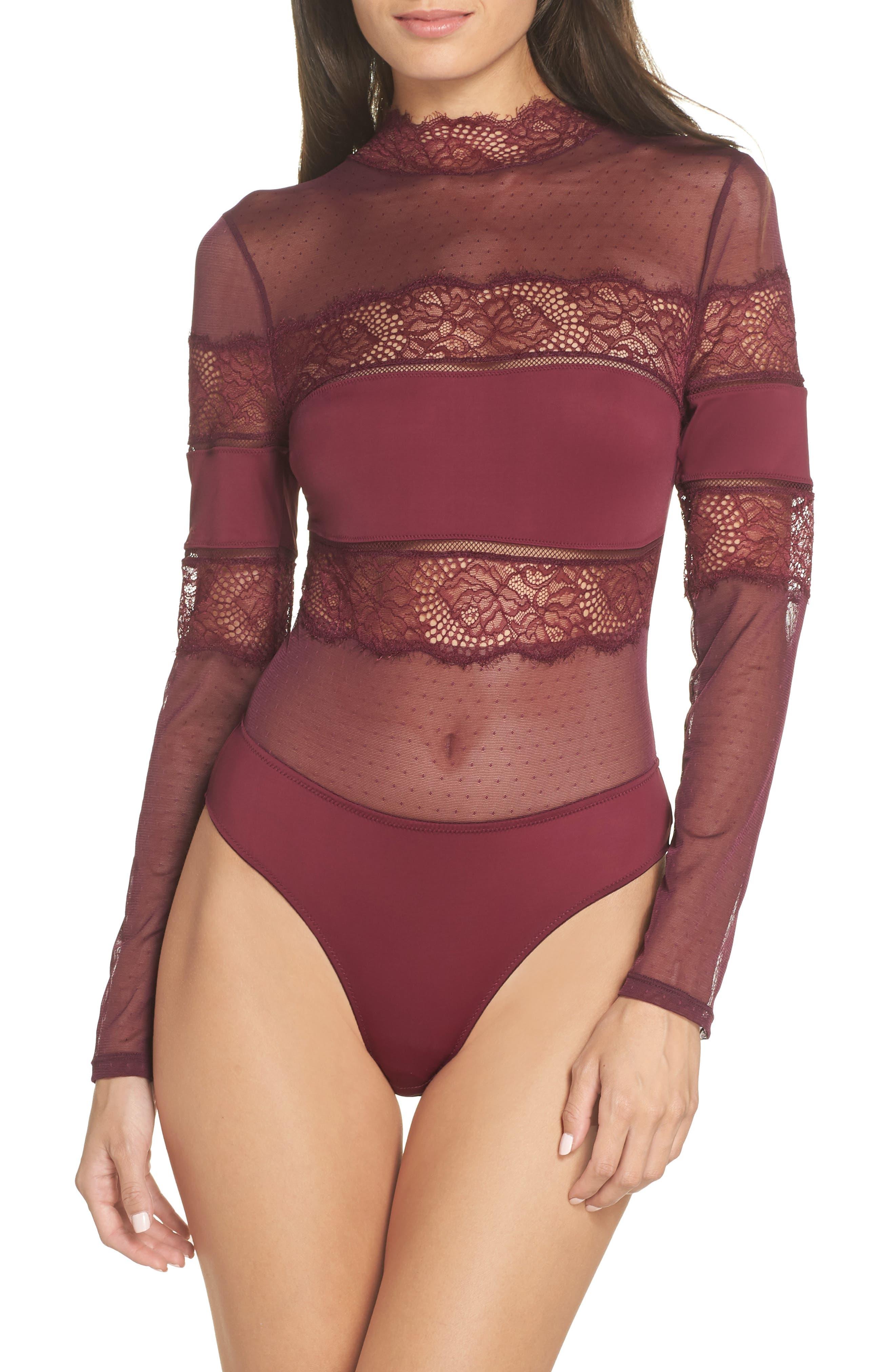 Amore Long Sleeve Bodysuit,                             Main thumbnail 1, color,                             CHERRY