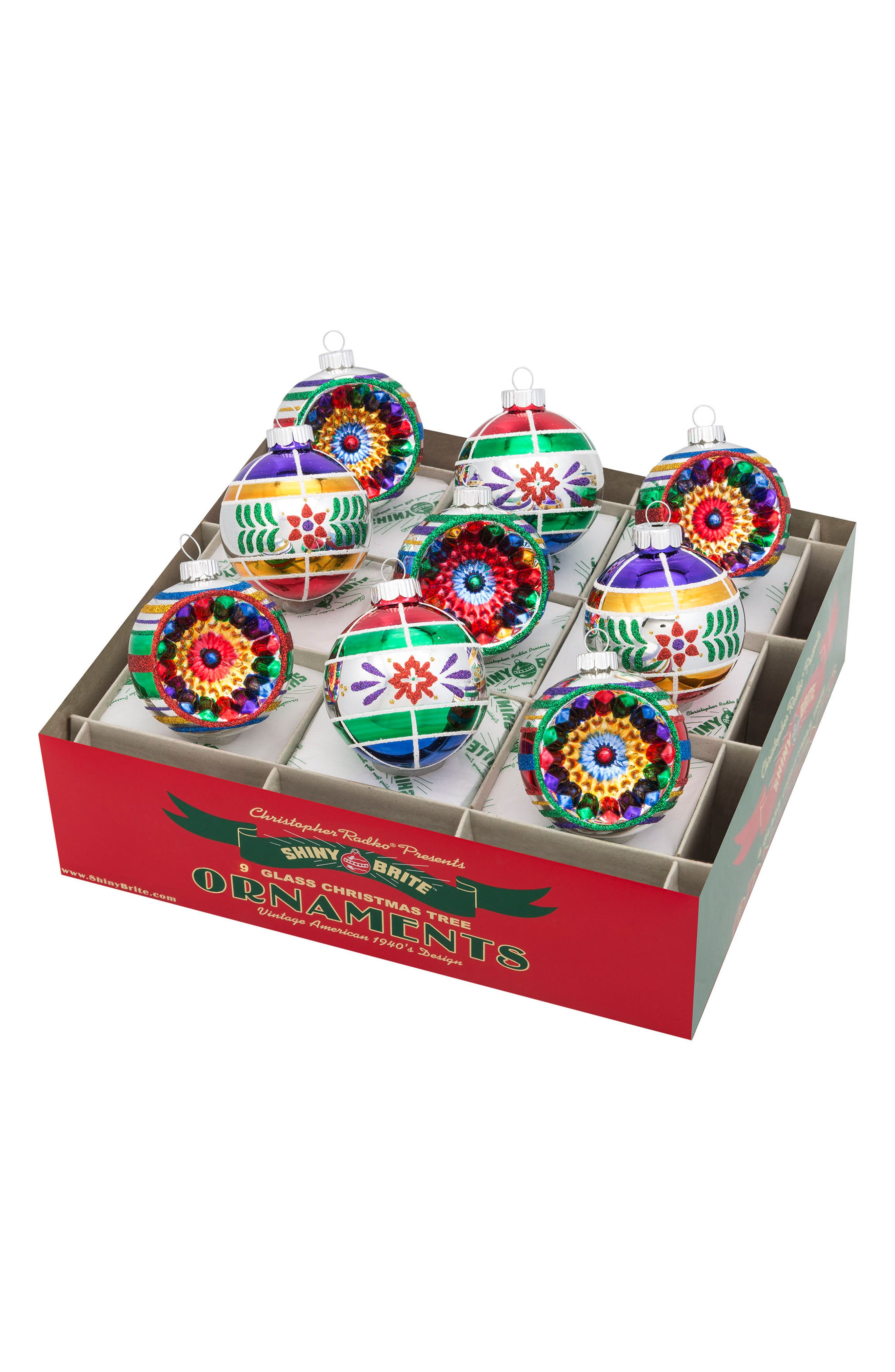 Traditional Brights Set of 9 Glass Ornaments,                         Main,                         color, 600