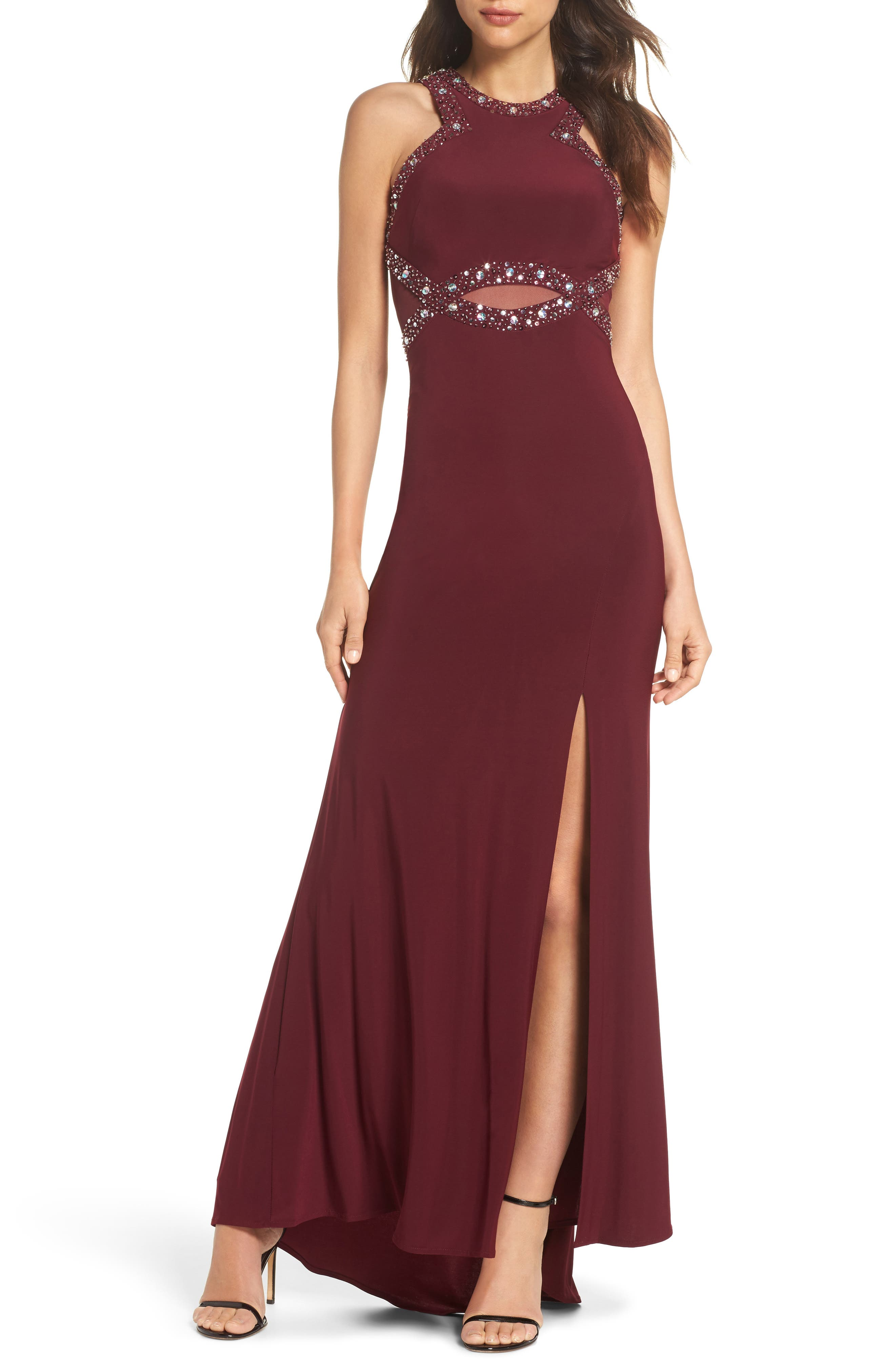 Embellished Illusion Gown,                             Main thumbnail 1, color,                             MERLOT