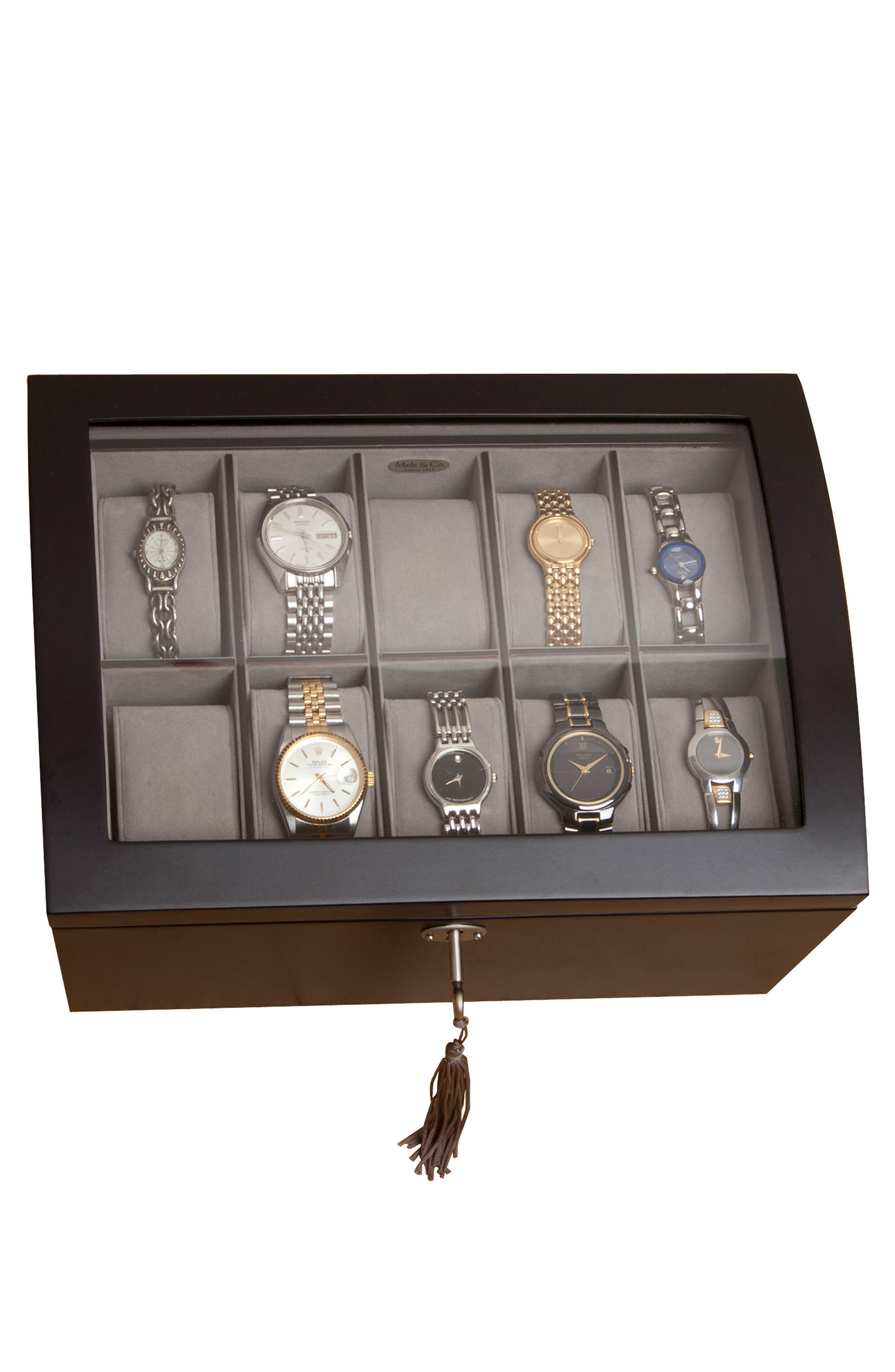 Royce Locking Watch & Jewelry Box,                             Alternate thumbnail 4, color,                             BLACK