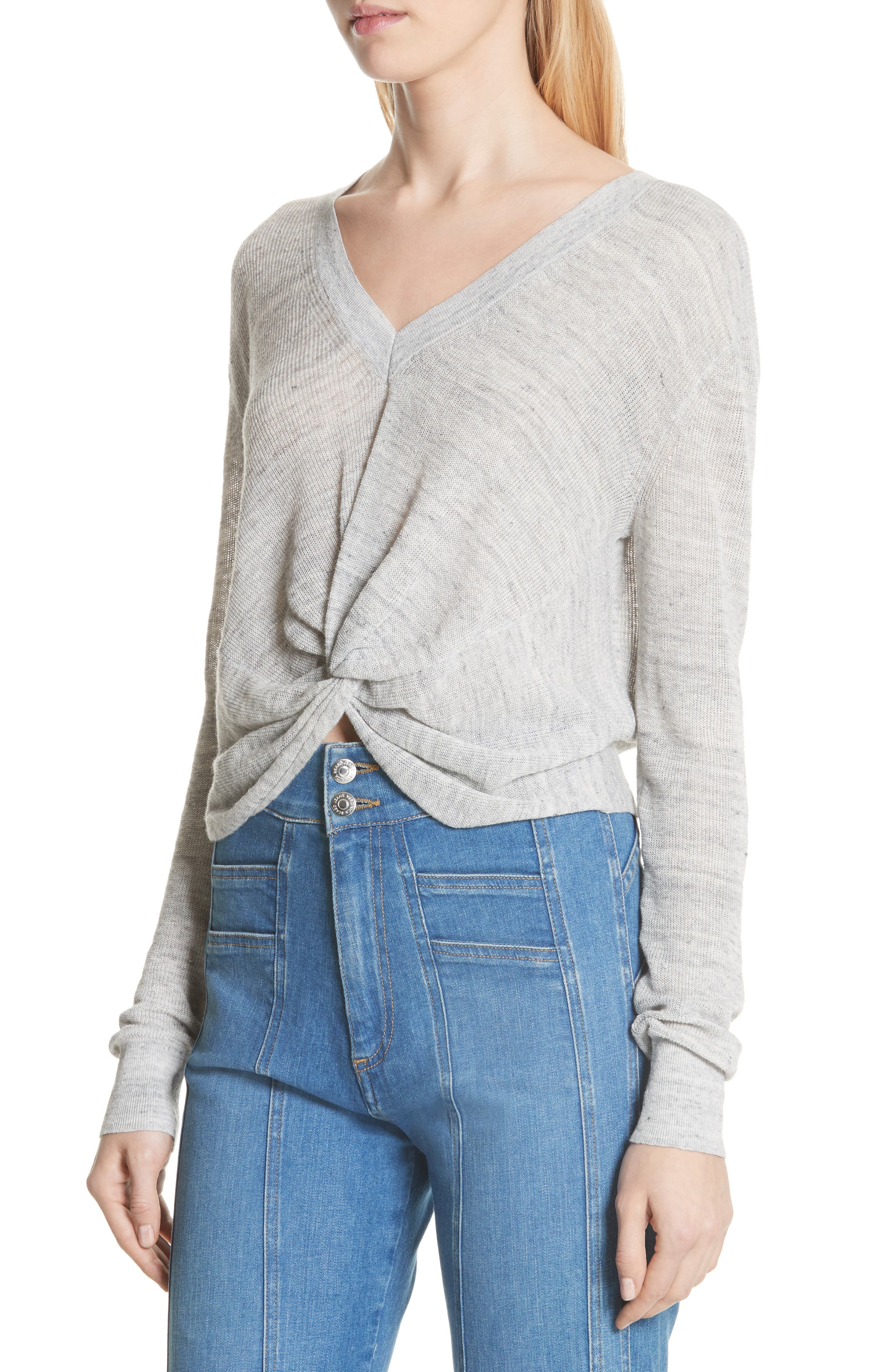 Soren Twist Front Linen Blend Sweater,                             Alternate thumbnail 4, color,