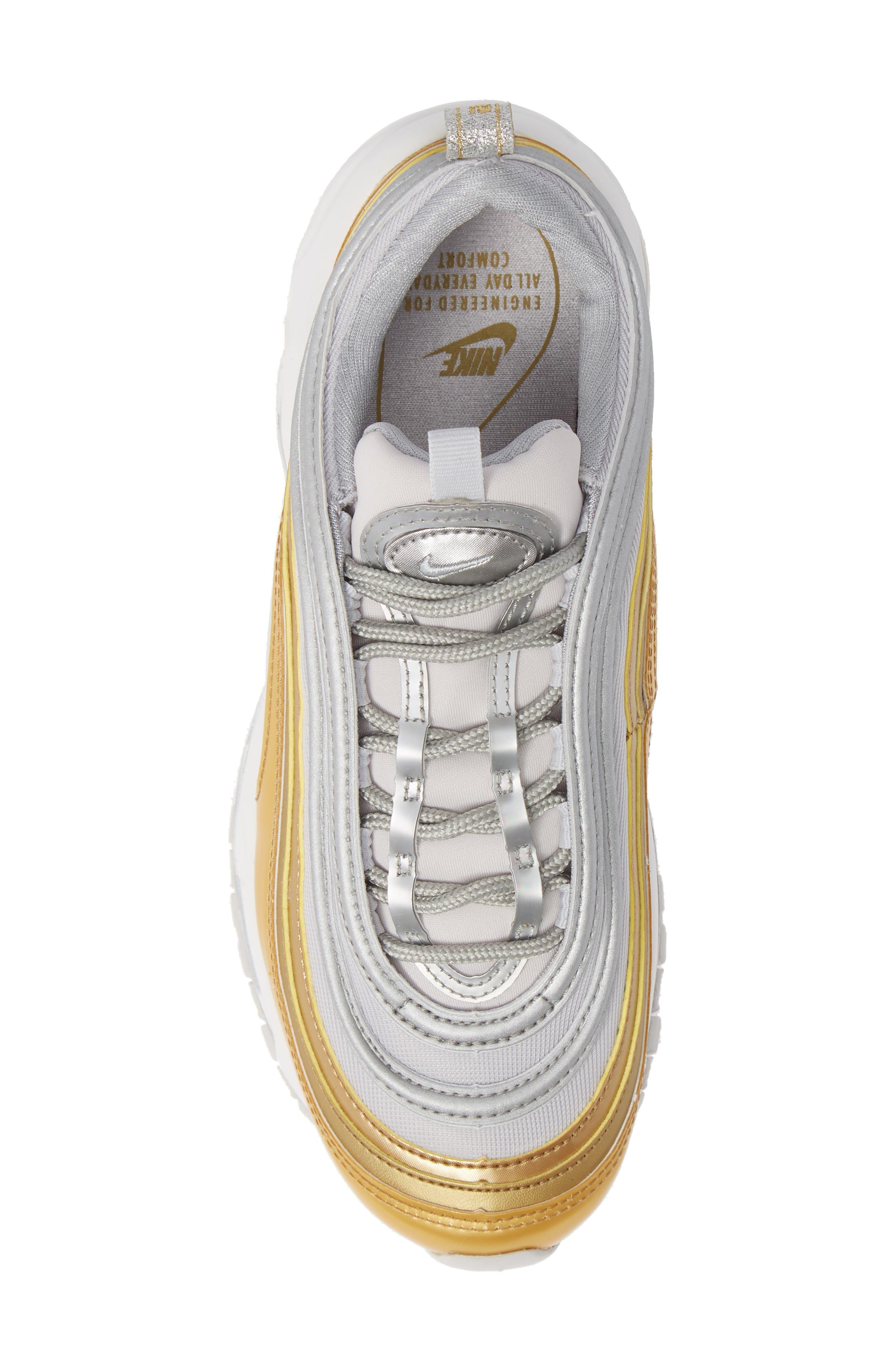Air Max 97 SE Sneaker,                             Alternate thumbnail 5, color,                             GREY/ METALLIC SILVER- GOLD
