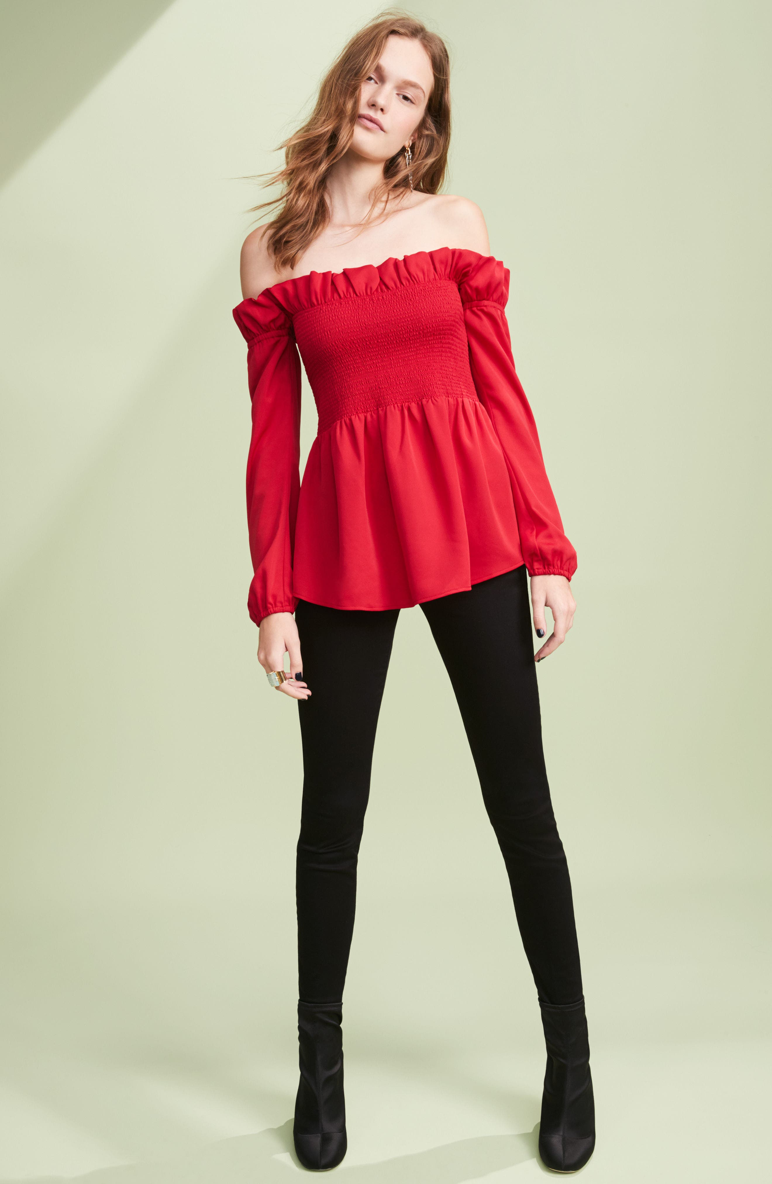 Smocked Top,                             Alternate thumbnail 7, color,                             001