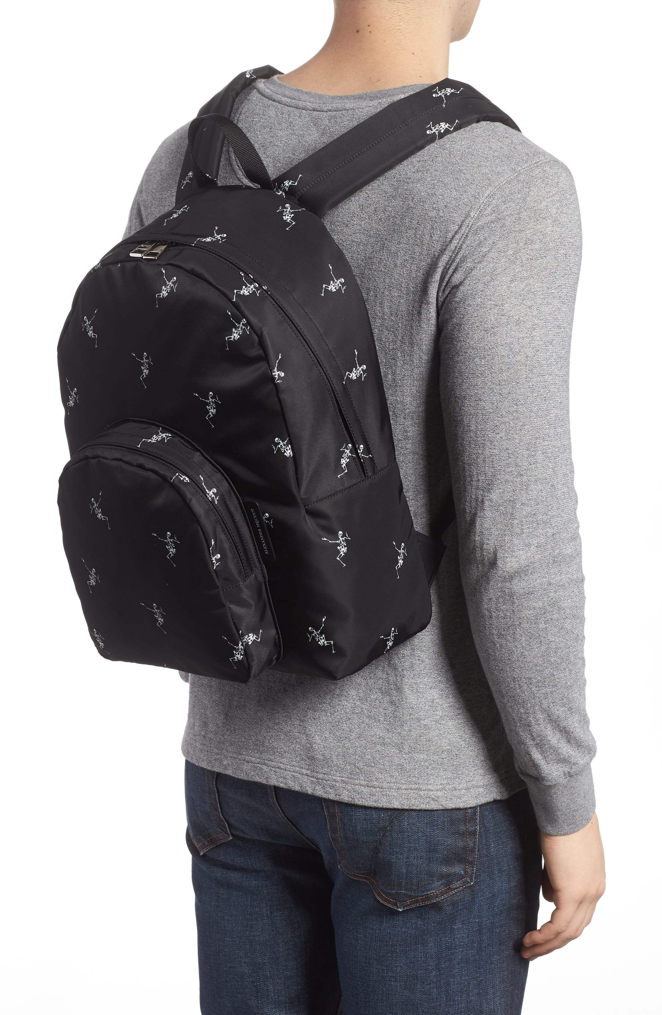 Dancing Skeleton Backpack,                             Alternate thumbnail 2, color,                             BLACK/ OFF WHITE