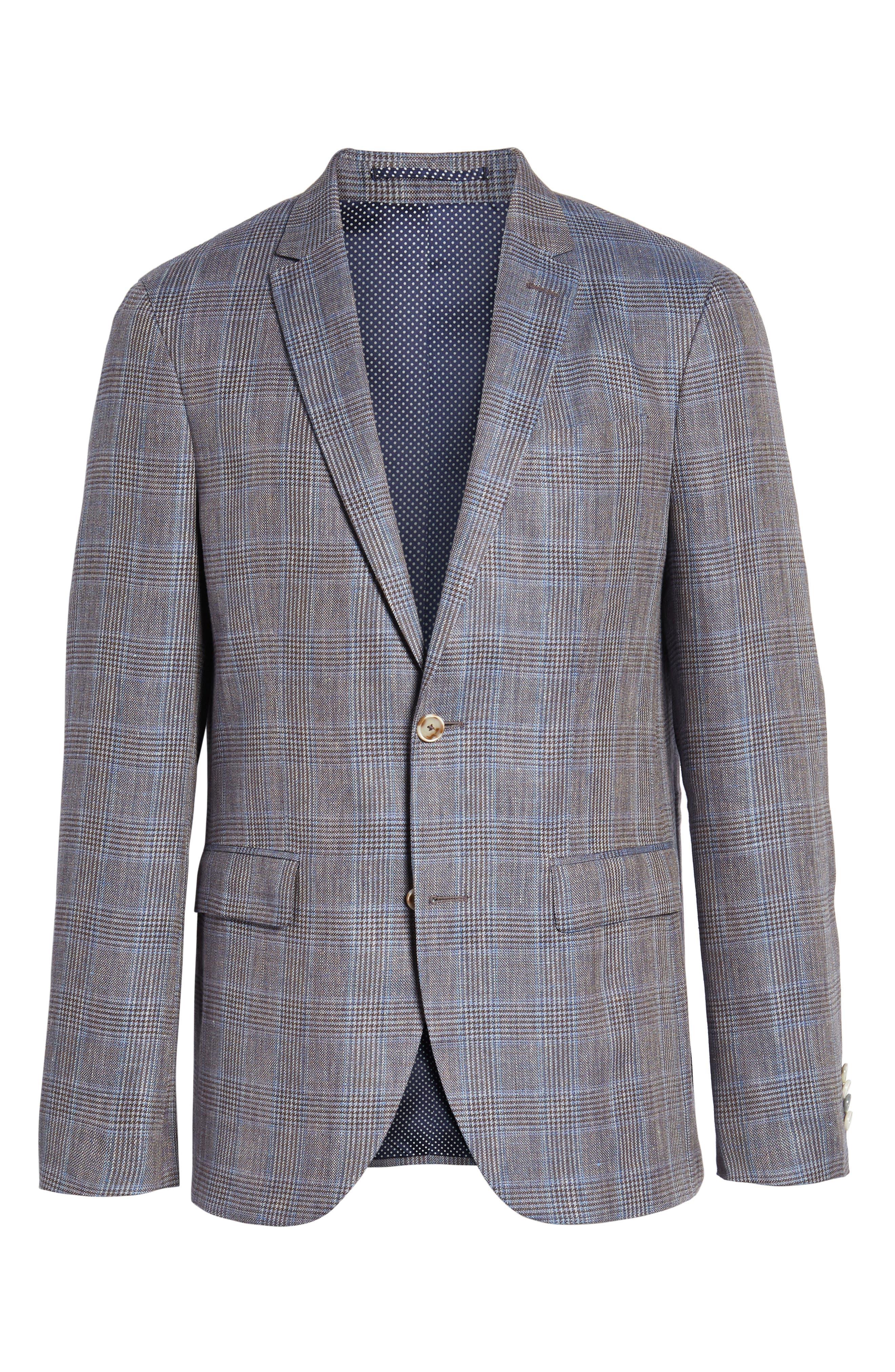 Glenn Trim Fit Plaid Linen Blend Sport Coat,                             Alternate thumbnail 5, color,                             200