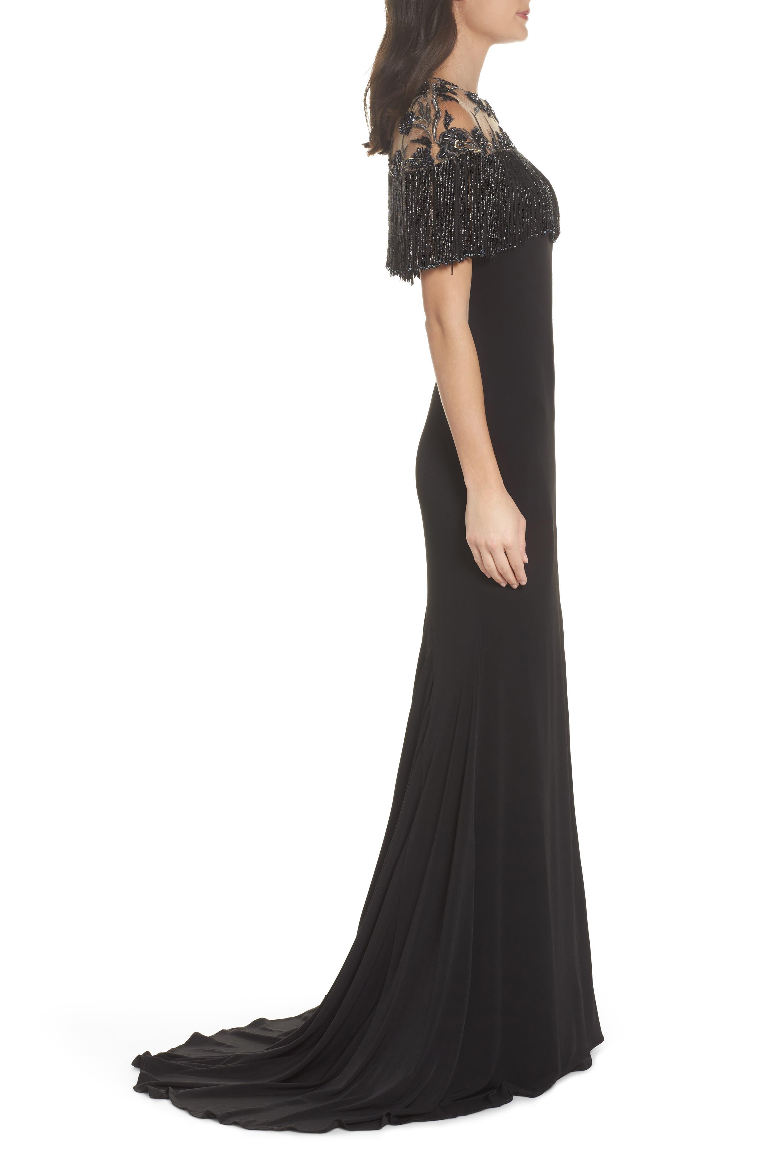 Beaded Fringe Bodice Gown,                             Alternate thumbnail 3, color,                             001