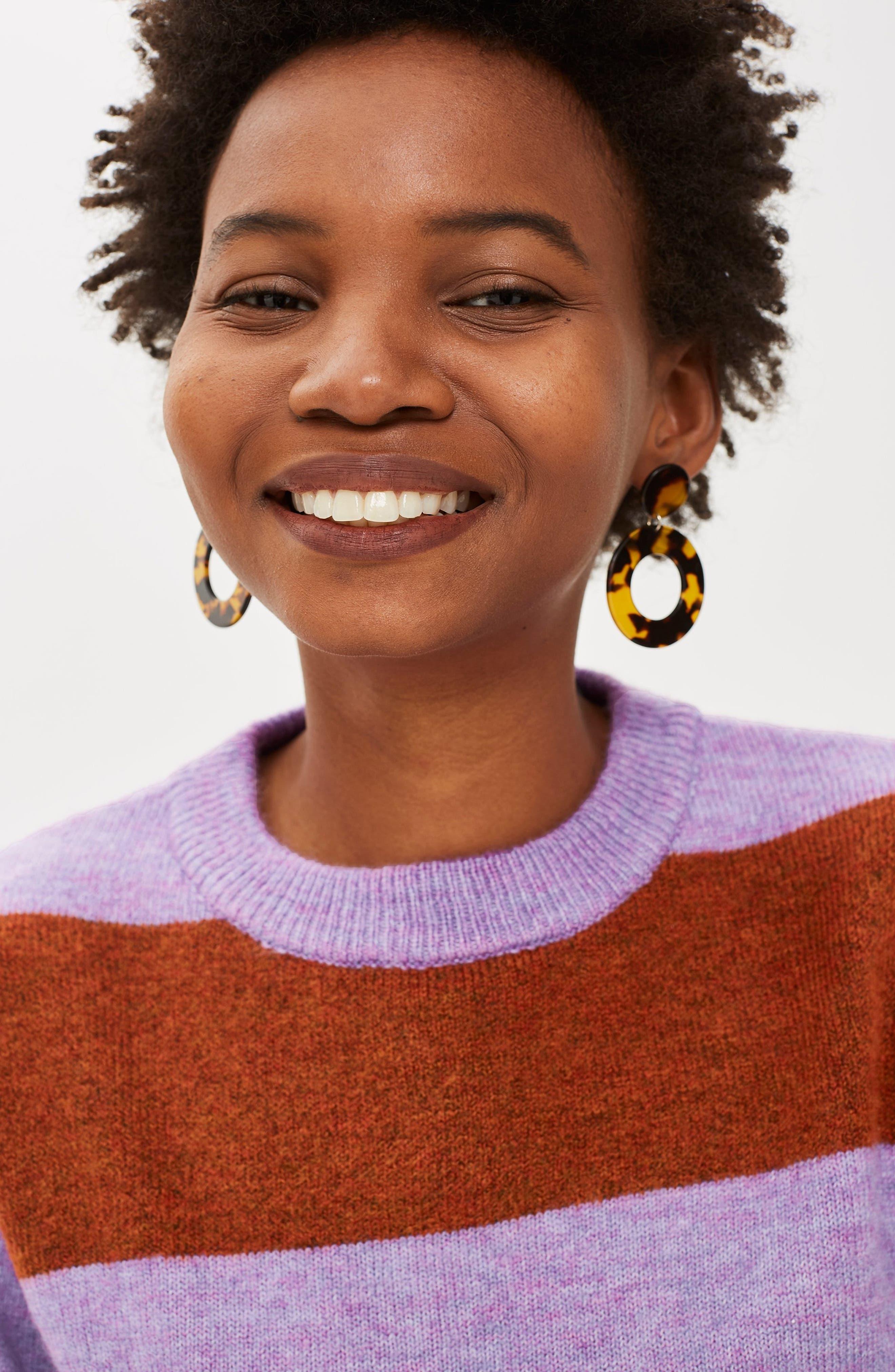 Bold Stripe Crewneck Sweater,                             Alternate thumbnail 4, color,                             PURPLE MULTI