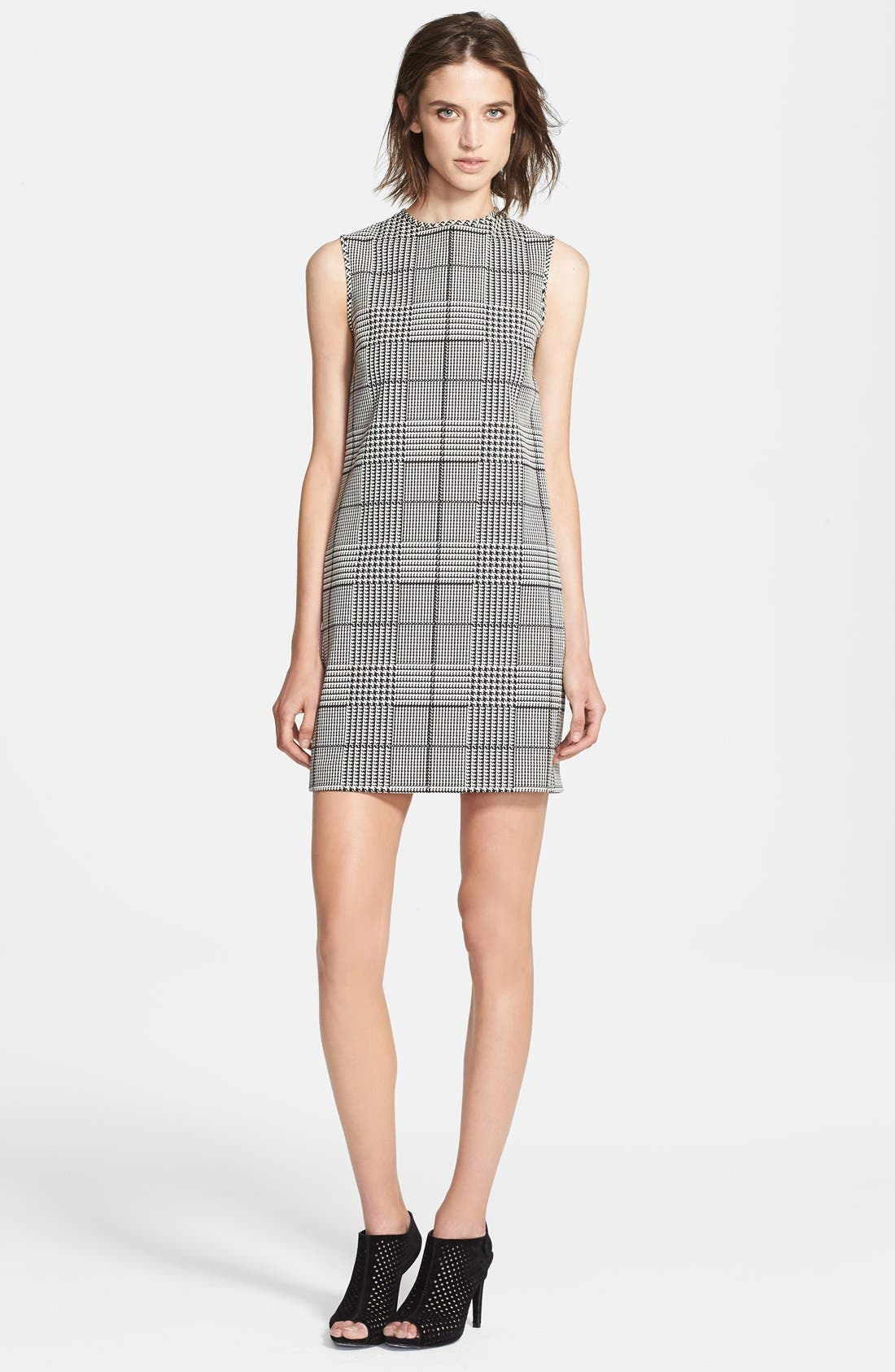 'Adraya' Houndstooth Cotton Blend Shift Dress,                             Main thumbnail 1, color,                             020