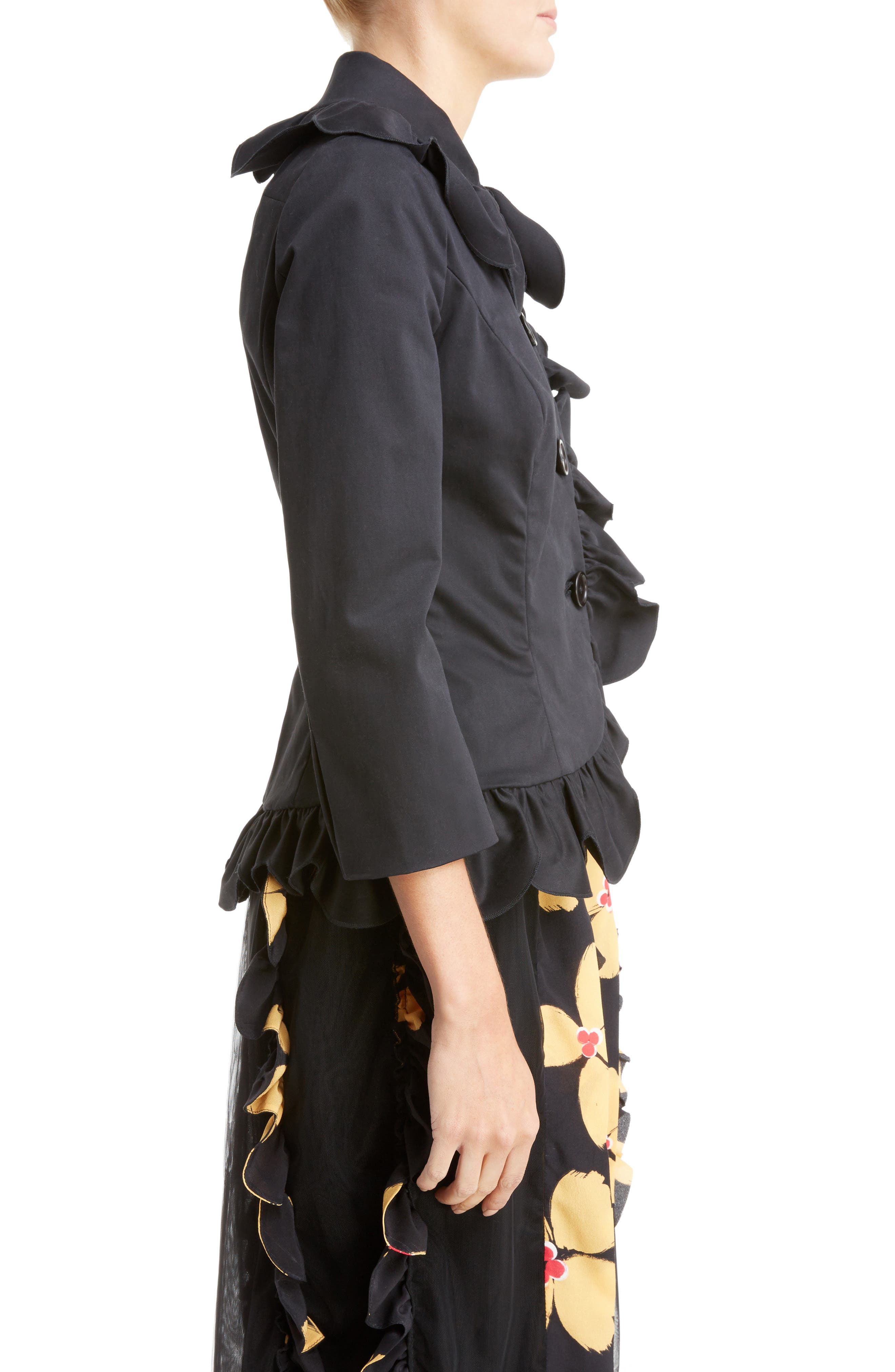Scallop Frill Fitted Jacket,                             Alternate thumbnail 5, color,