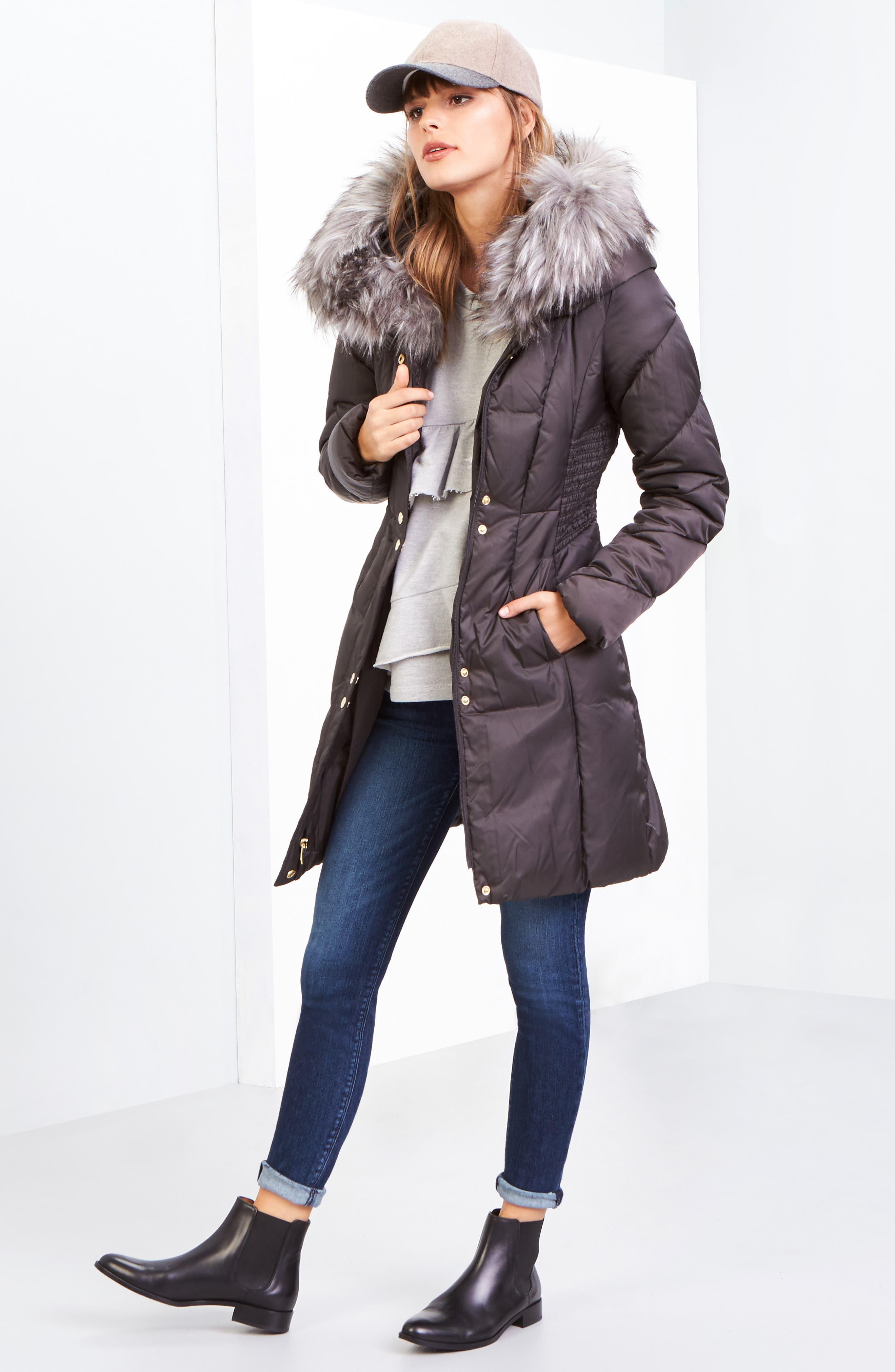 Water Repellent Quilted Puffer Coat with Faux Fur Trim,                             Alternate thumbnail 6, color,                             033
