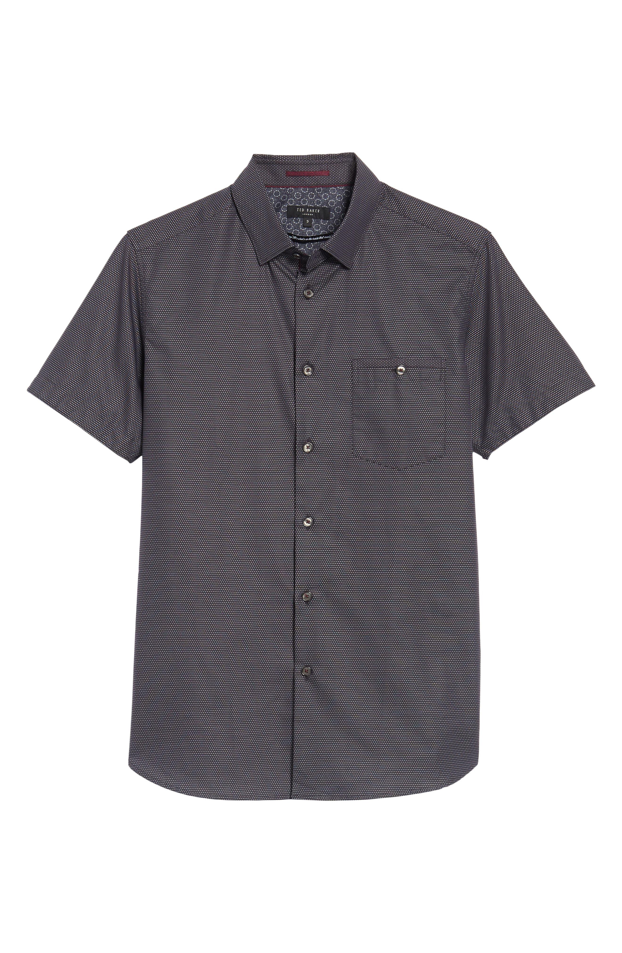 Dotdots Trim Fit Dot Short Sleeve Sport Shirt,                             Alternate thumbnail 6, color,                             001