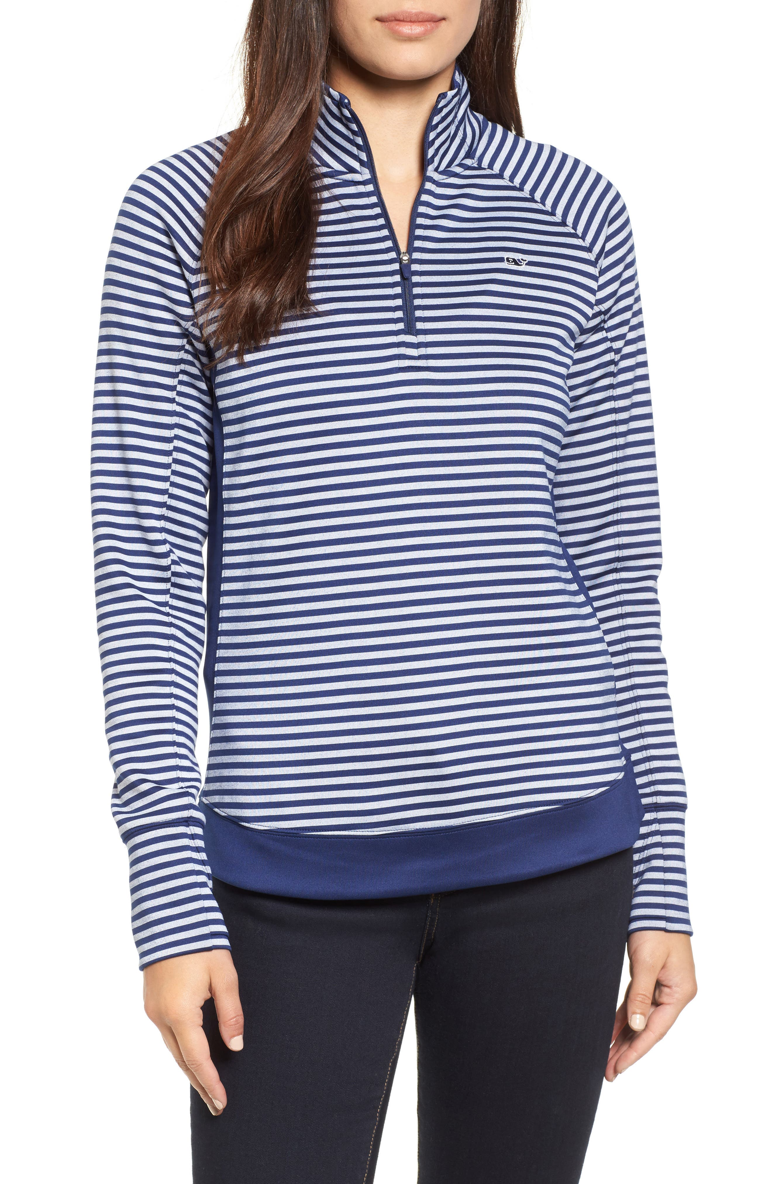 Performance Stripe Quarter Zip Pullover,                         Main,                         color, 476