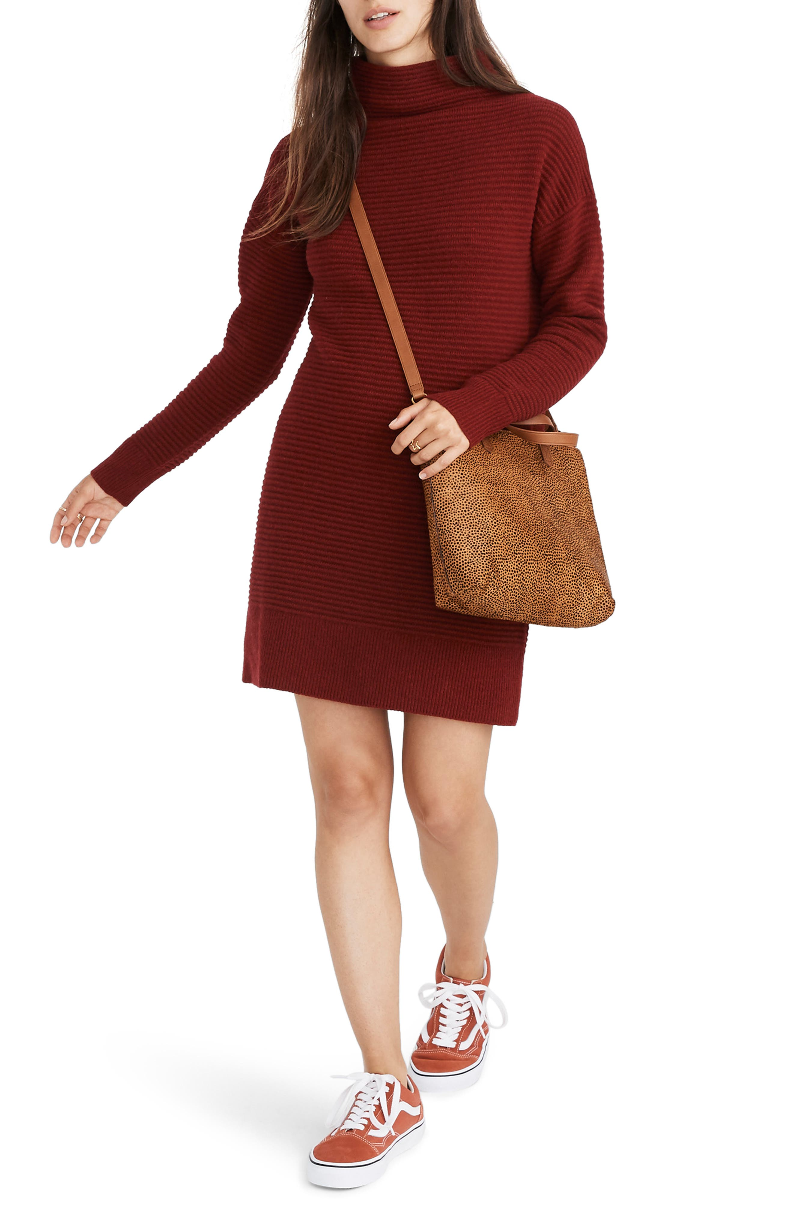 Skyscraper Merino Wool Sweater Dress,                         Main,                         color, HEATHER BURGUNDY
