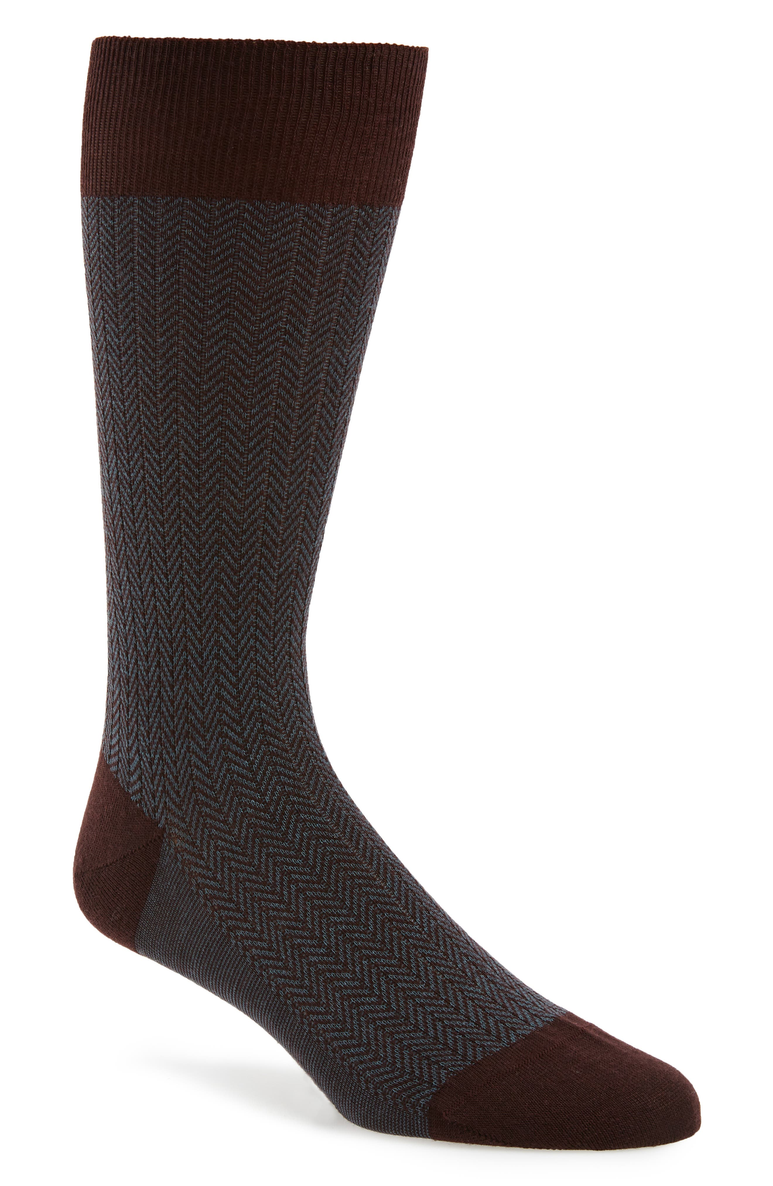 '5911' Mid-Calf Dress Socks,                         Main,                         color, MAROON 153