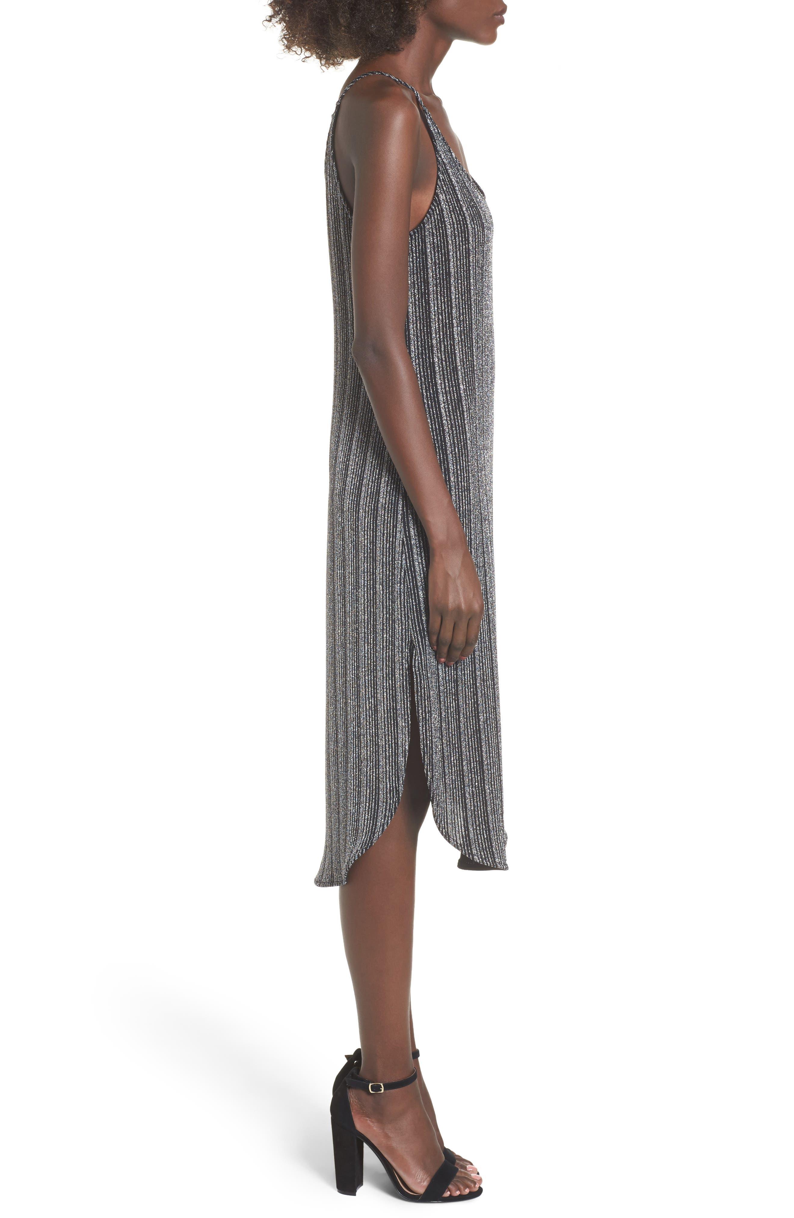 Metallic Ribbed Midi Dress,                             Alternate thumbnail 3, color,