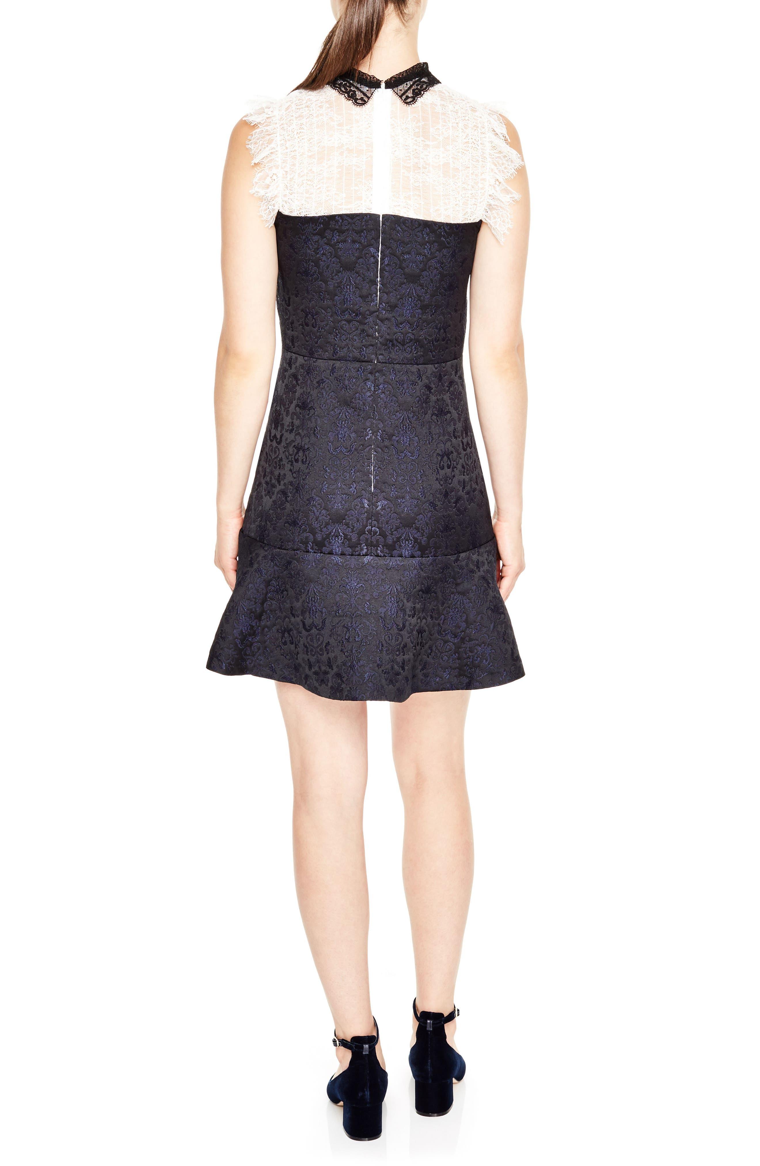 Lace Yoke Jacquard A-Line Dress,                             Alternate thumbnail 2, color,                             001