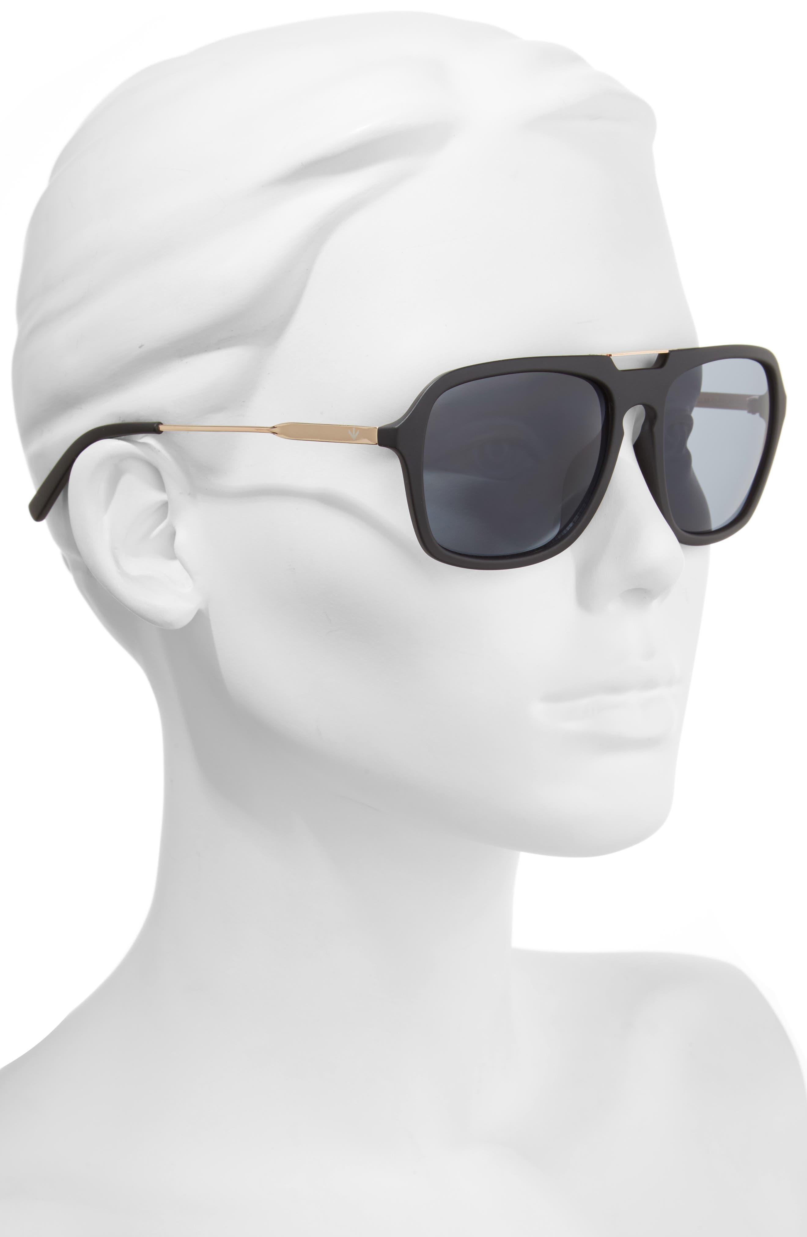 Chillax 55mm Polarized Aviator Sunglasses,                             Alternate thumbnail 2, color,                             001