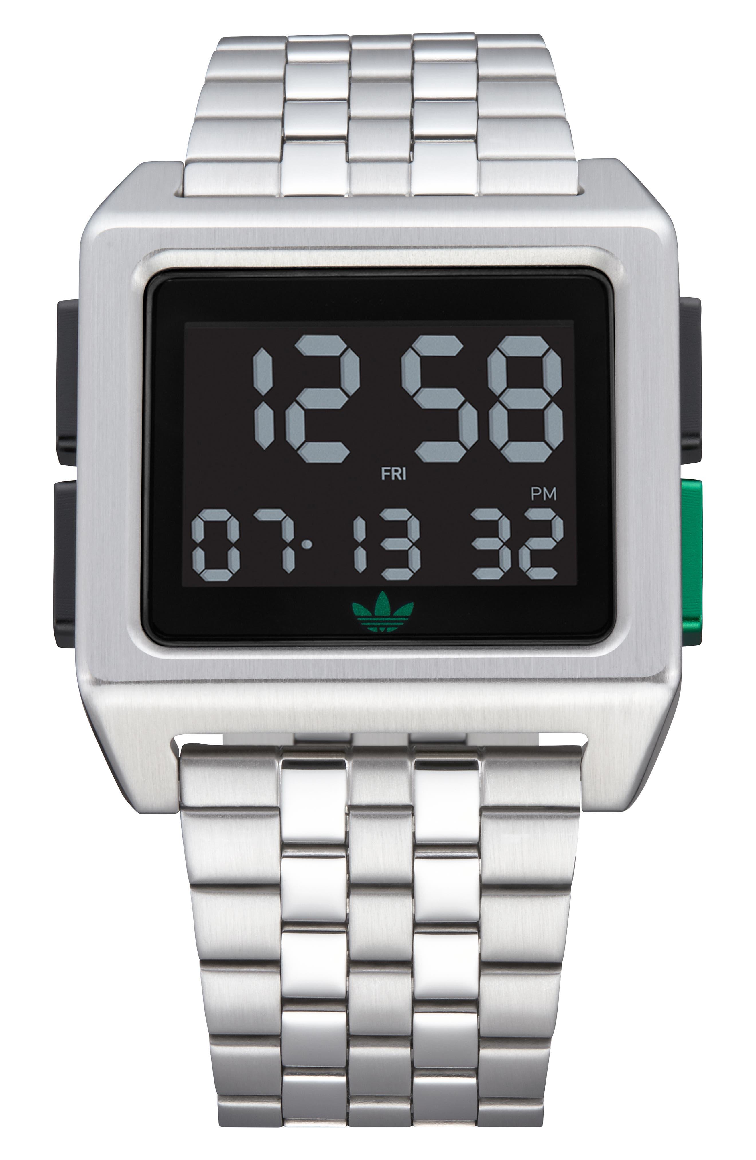 Archive Digital Bracelet Watch, 36mm,                             Main thumbnail 1, color,                             SILVER/ BLACK/ GREEN