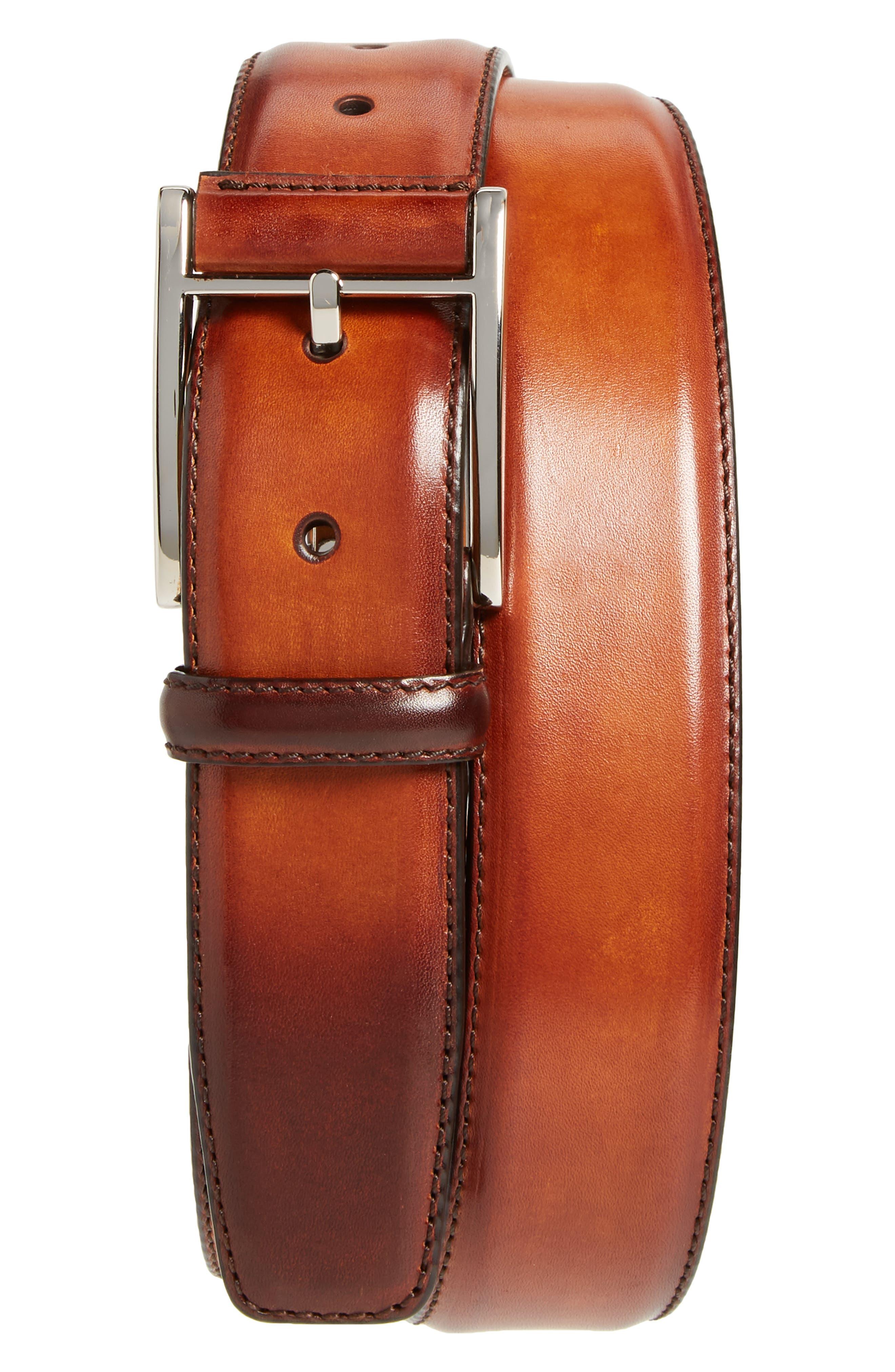 Catalux Leather Belt,                         Main,                         color, COGNAC