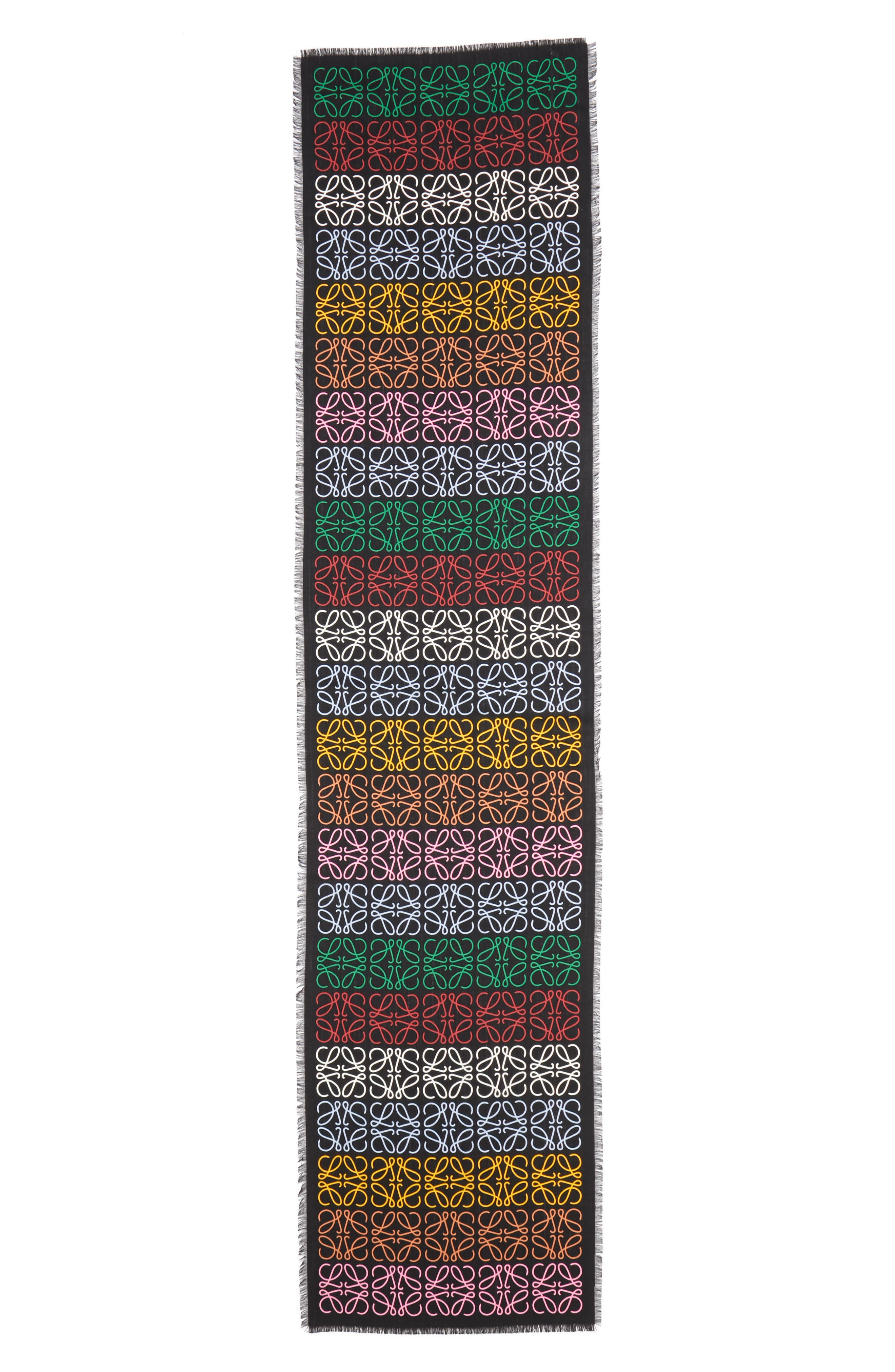 Monogram Stripe Scarf,                             Main thumbnail 1, color,                             MULTICOLOR/ BLACK