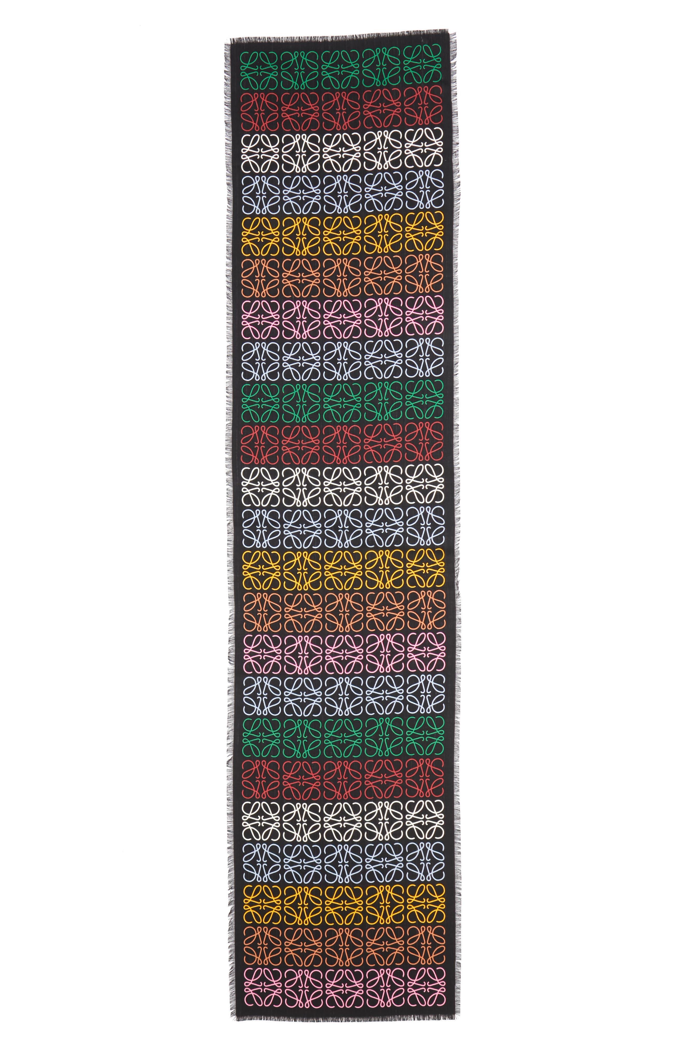 Monogram Stripe Scarf, Main, color, MULTICOLOR/ BLACK