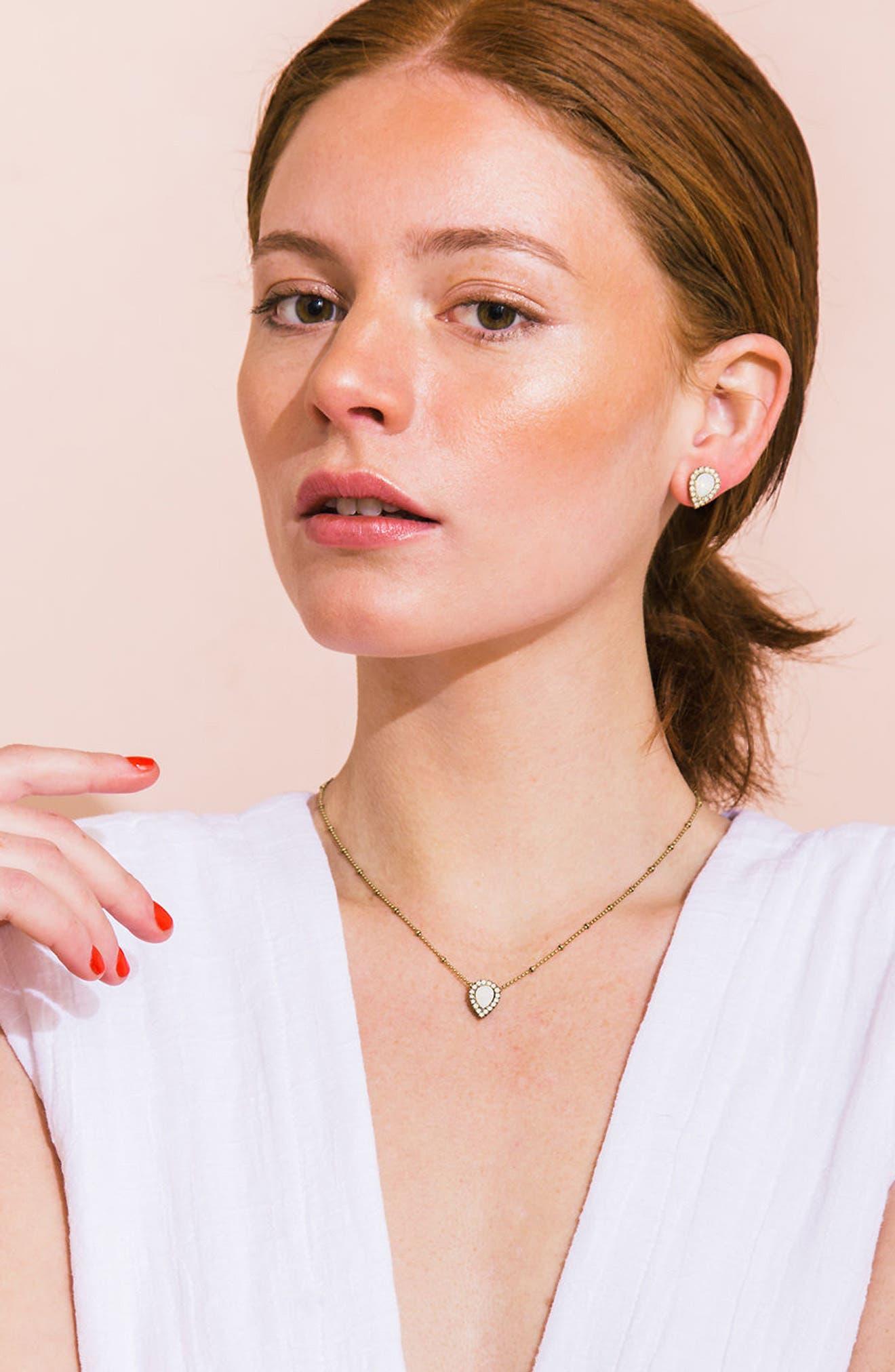 Jamie Teardrop Stud Earrings,                             Alternate thumbnail 3, color,                             GOLD/ WHITE
