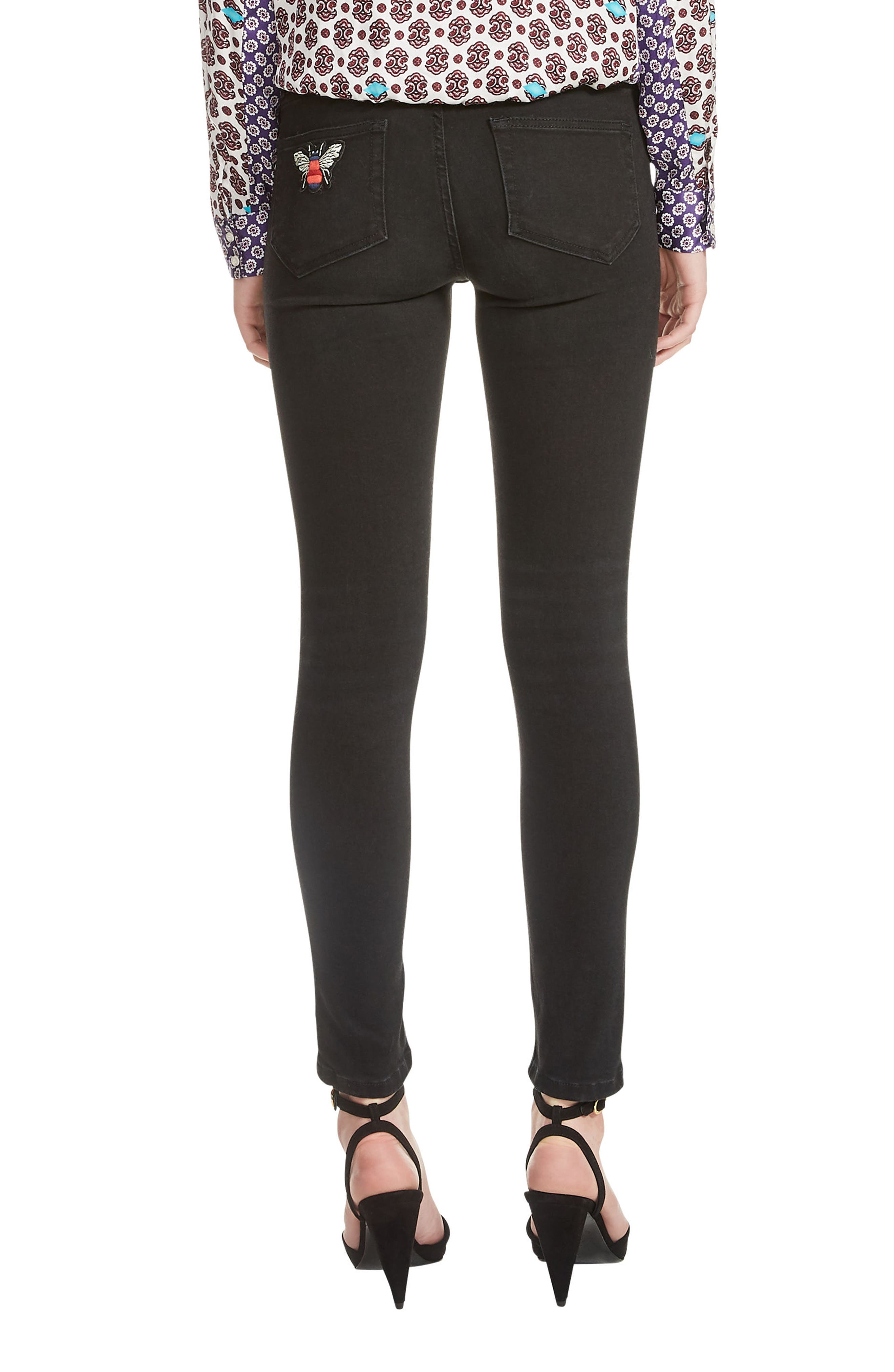 Priska Ripped Bee Embroidery Black Skinny Jeans,                             Alternate thumbnail 2, color,                             001