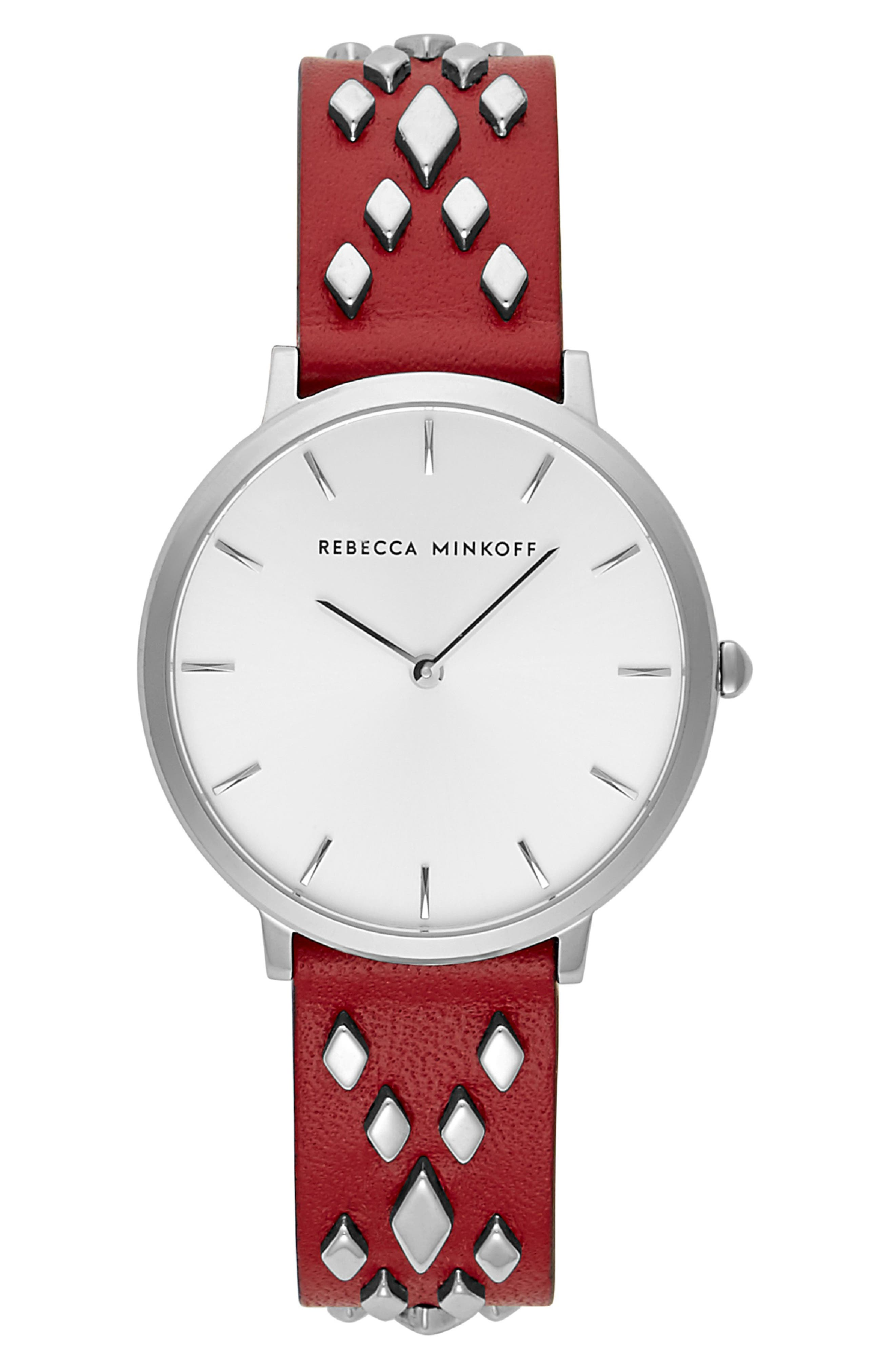 Major Studded Leather Strap Watch, 35mm,                             Main thumbnail 1, color,                             SCARLET/ SILVER