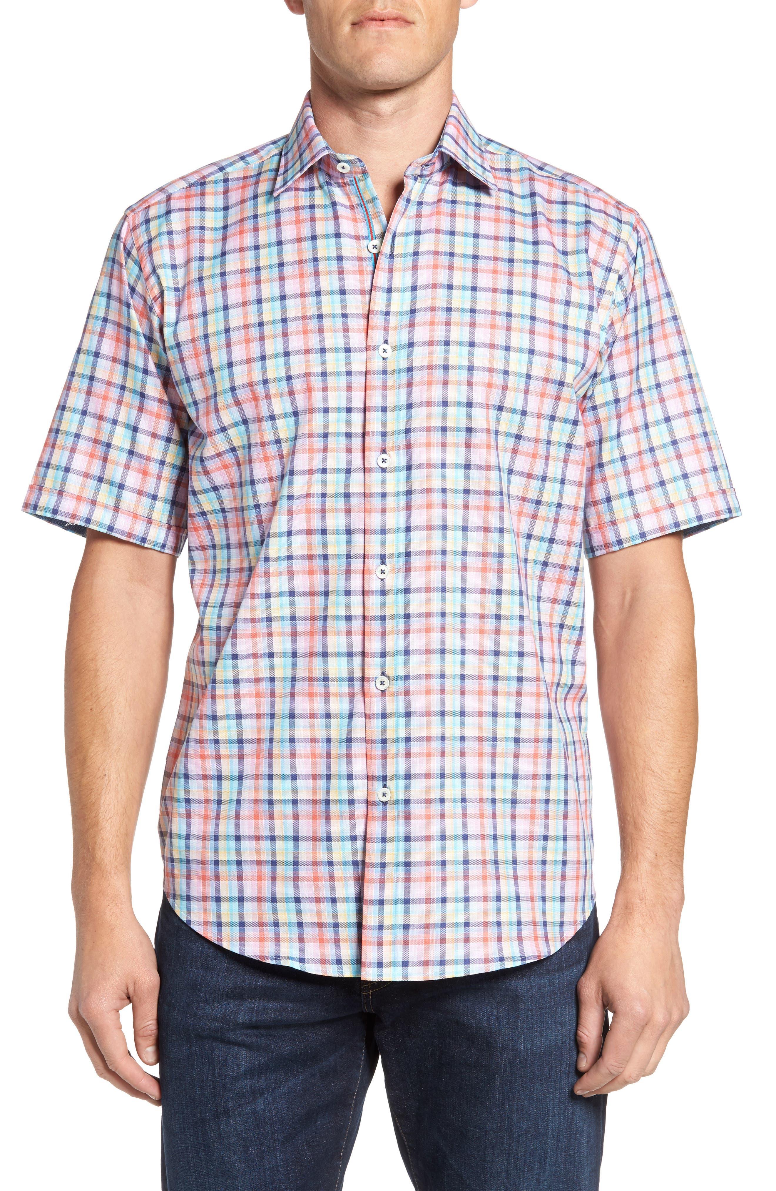 Classic Fit Check Short Sleeve Sport Shirt,                             Main thumbnail 1, color,                             953