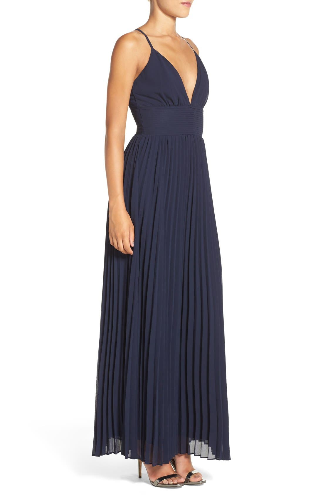 Plunging V-Neck Pleat Georgette Gown,                             Alternate thumbnail 3, color,                             400