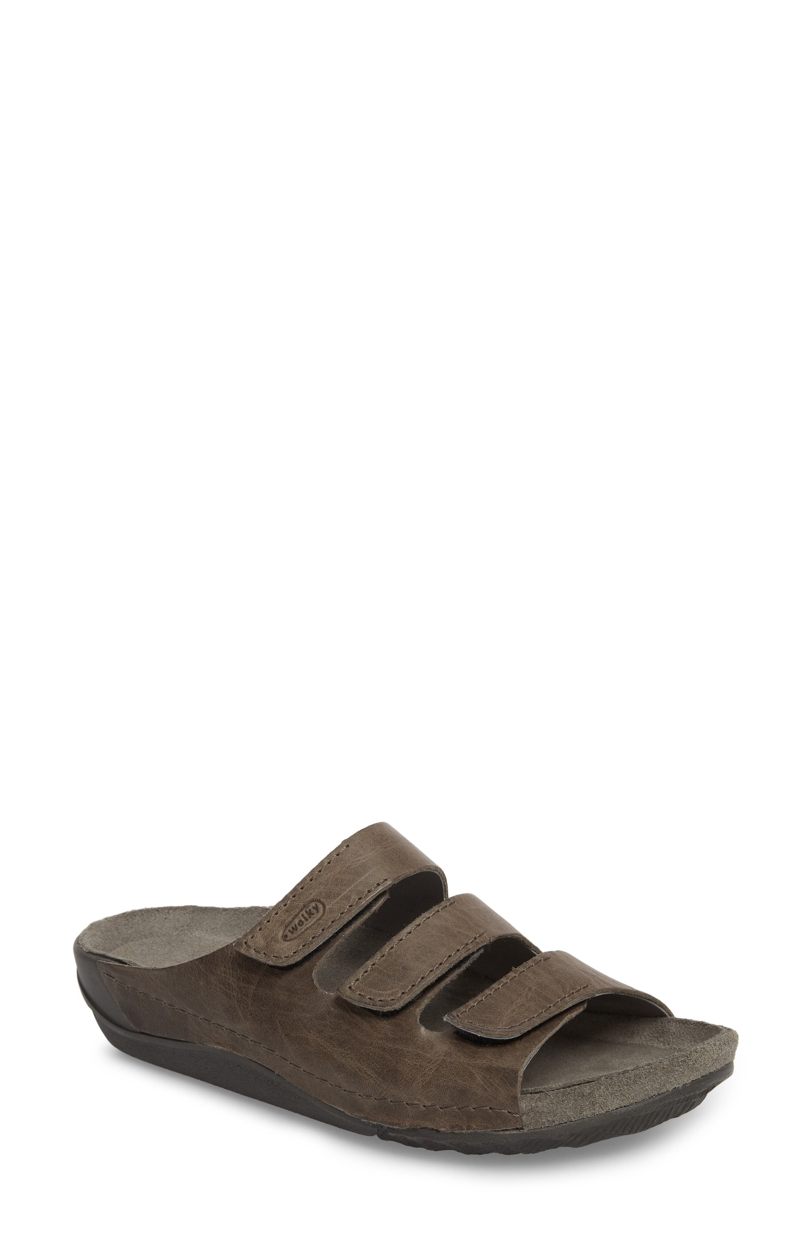 Nomad Slide Sandal,                             Main thumbnail 1, color,                             SLATE LEATHER