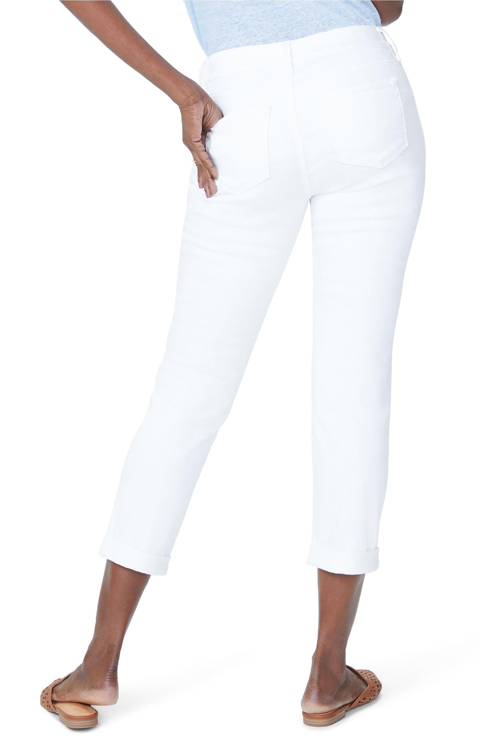 6bd4db00a74 NYDJ Puff Embroidery White Boyfriend Jeans