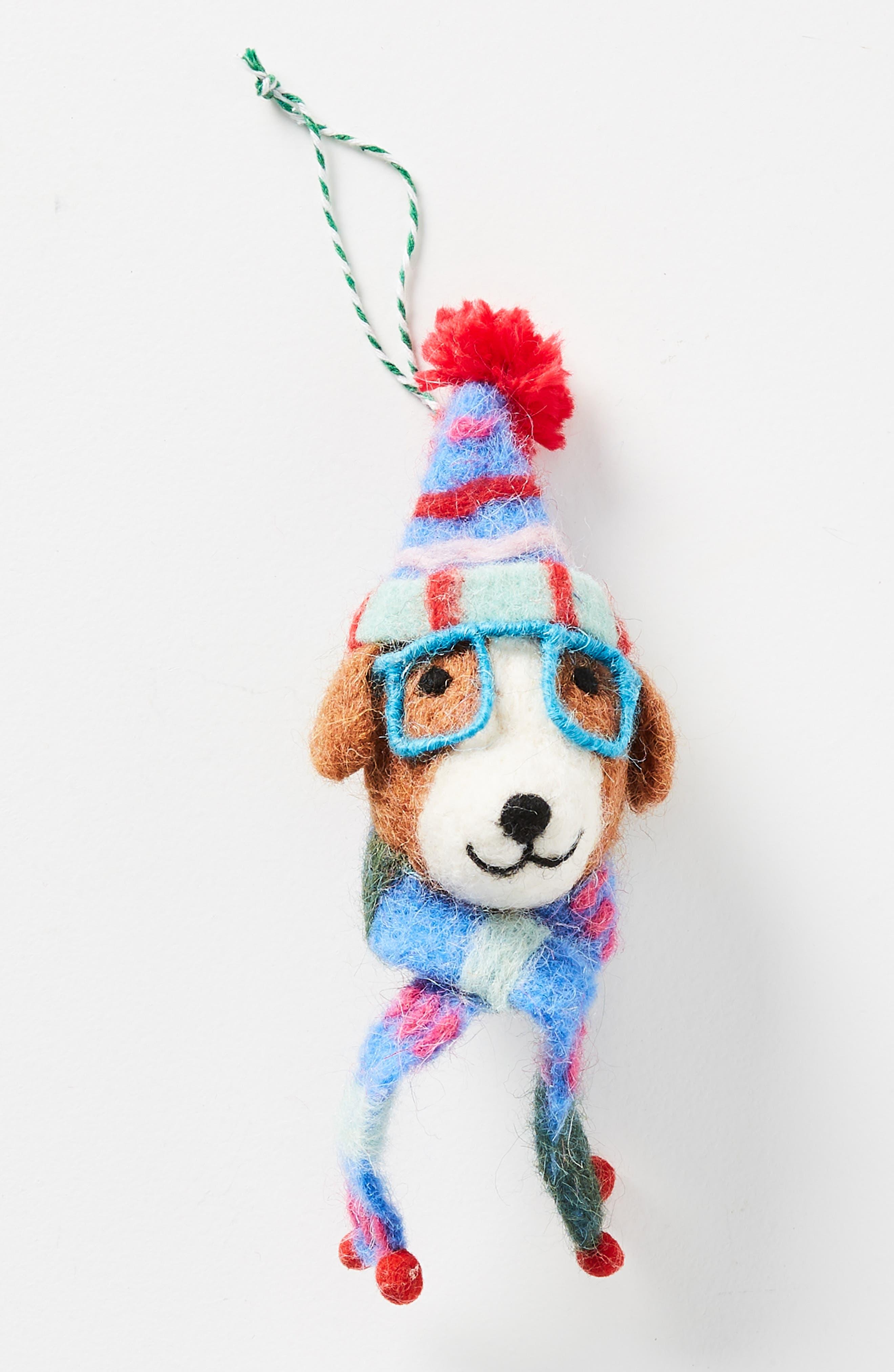 ANTHROPOLOGIE,                             Decked Out Dog Felt Ornament,                             Alternate thumbnail 2, color,                             200
